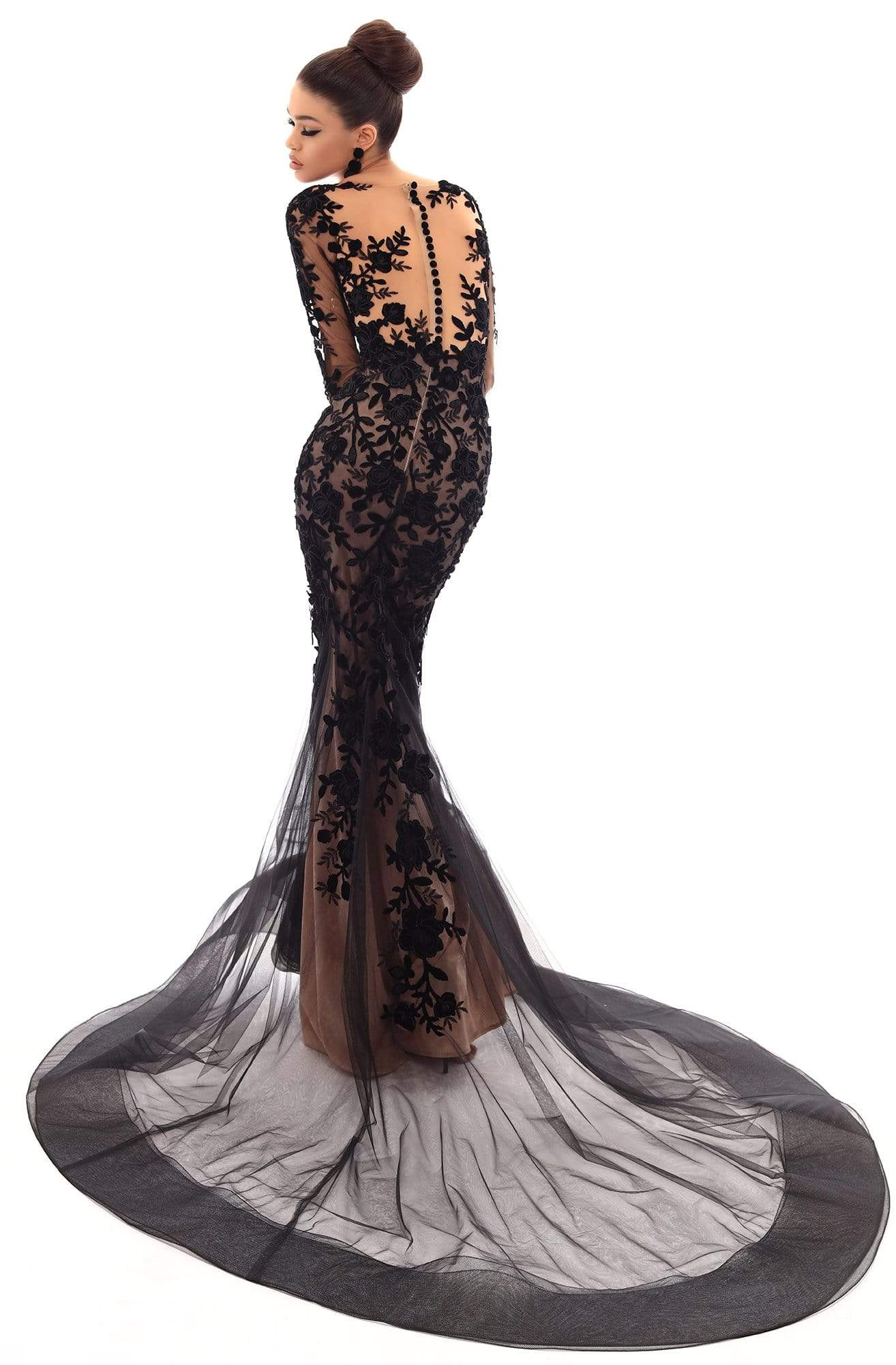 Tarik Ediz - 93656 Floral Applique Illusion Bateau Mermaid Dress Pageant Dresses