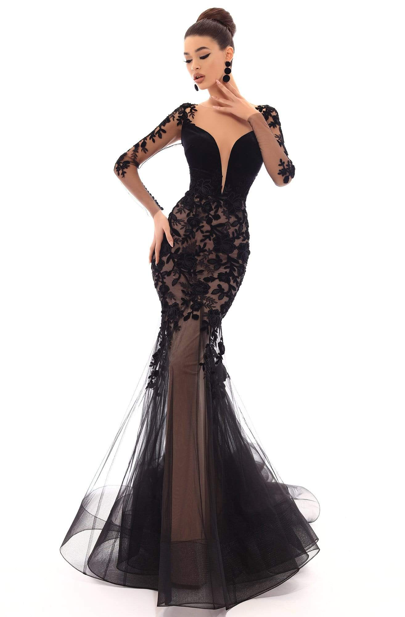 Tarik Ediz - 93656 Floral Applique Illusion Bateau Mermaid Dress in Black