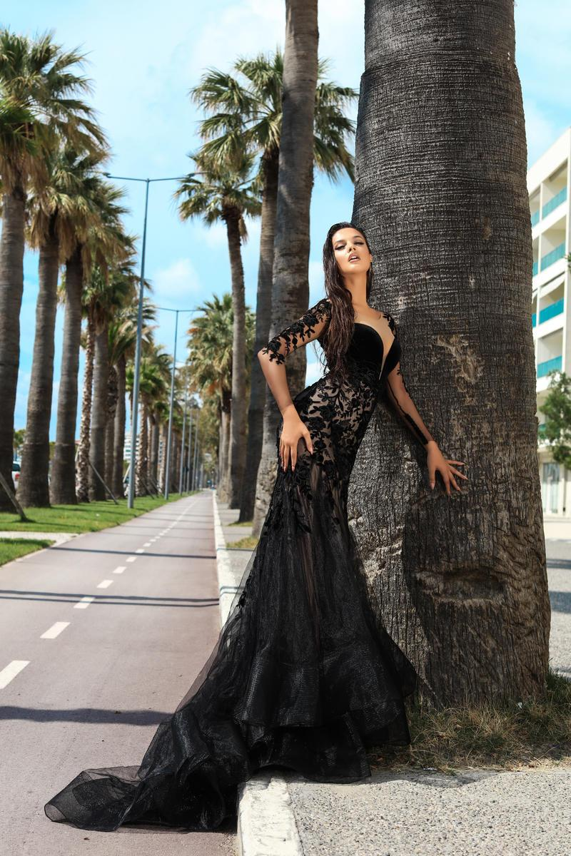 Tarik Ediz - Black Floral Applique Illusion Bateau Mermaid Dress In Black