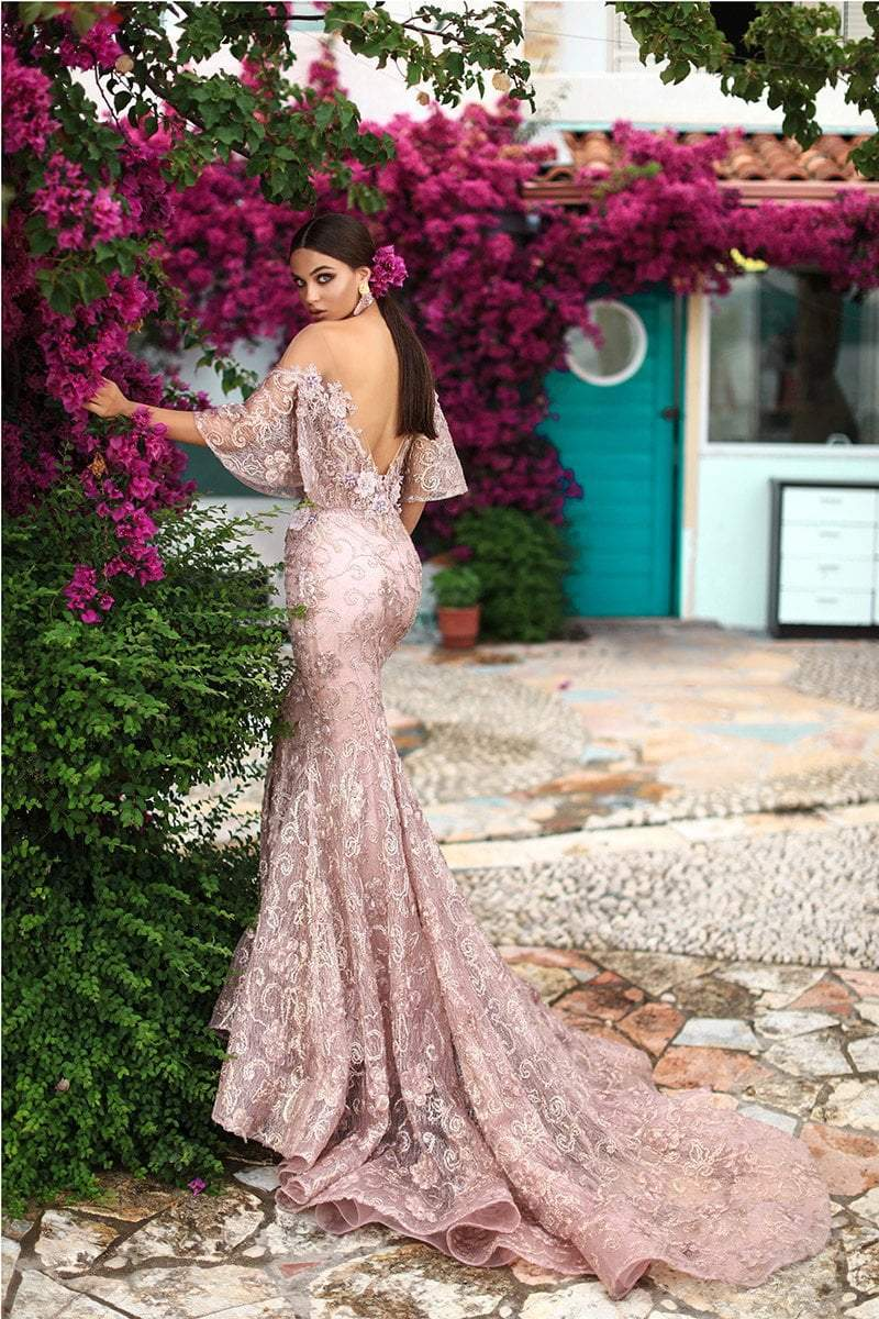 Tarik Ediz - 93660 Floral Applique Mermaid Dress With Train In Pink