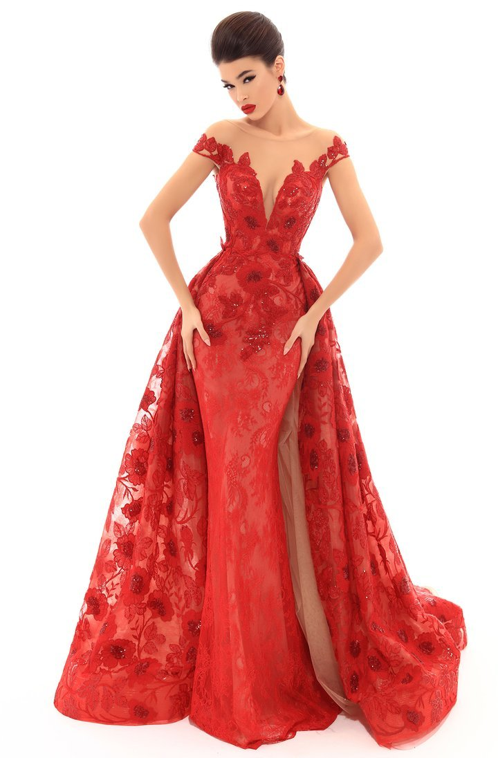 Tarik Ediz - Floral Lace Illusion Bateau Dress With Overskirt 93673 In Red