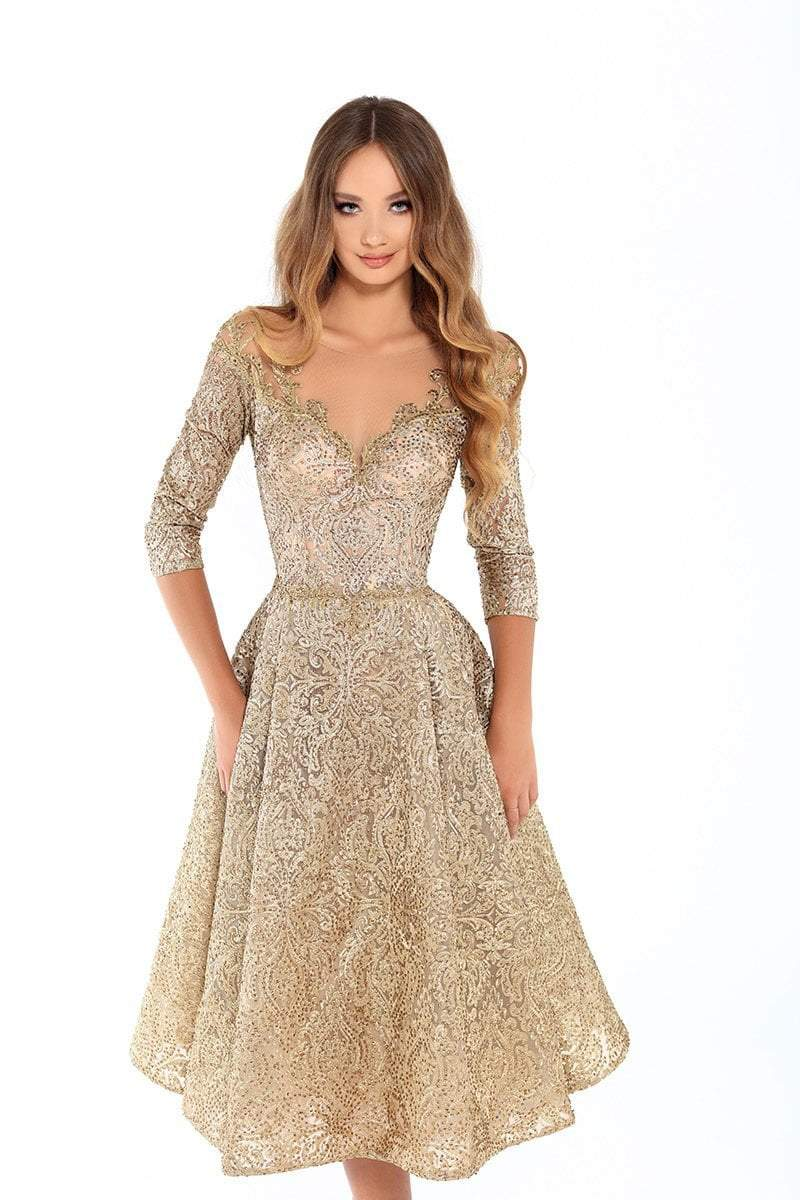 Tarik Ediz - 93684 Embellished Lace Tea Length A-line Dress In Gold