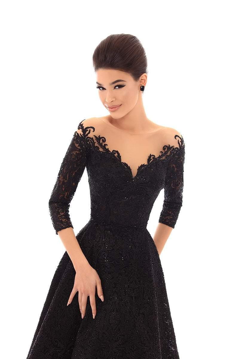 Tarik Ediz - 93684 Embellished Lace Tea Length A-line Dress In Black