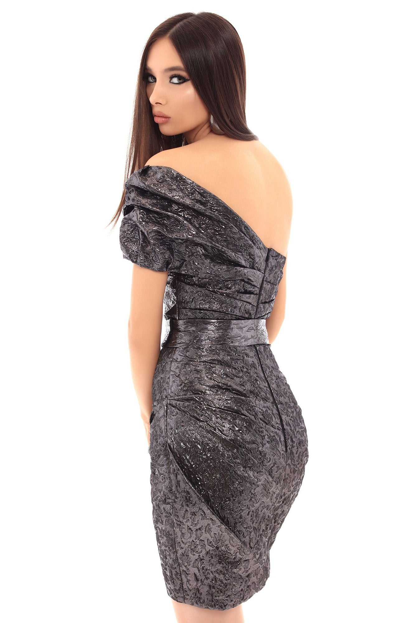 Tarik Ediz - 93687 Shirred Off-Shoulder Satin Sheath Dress in Gray