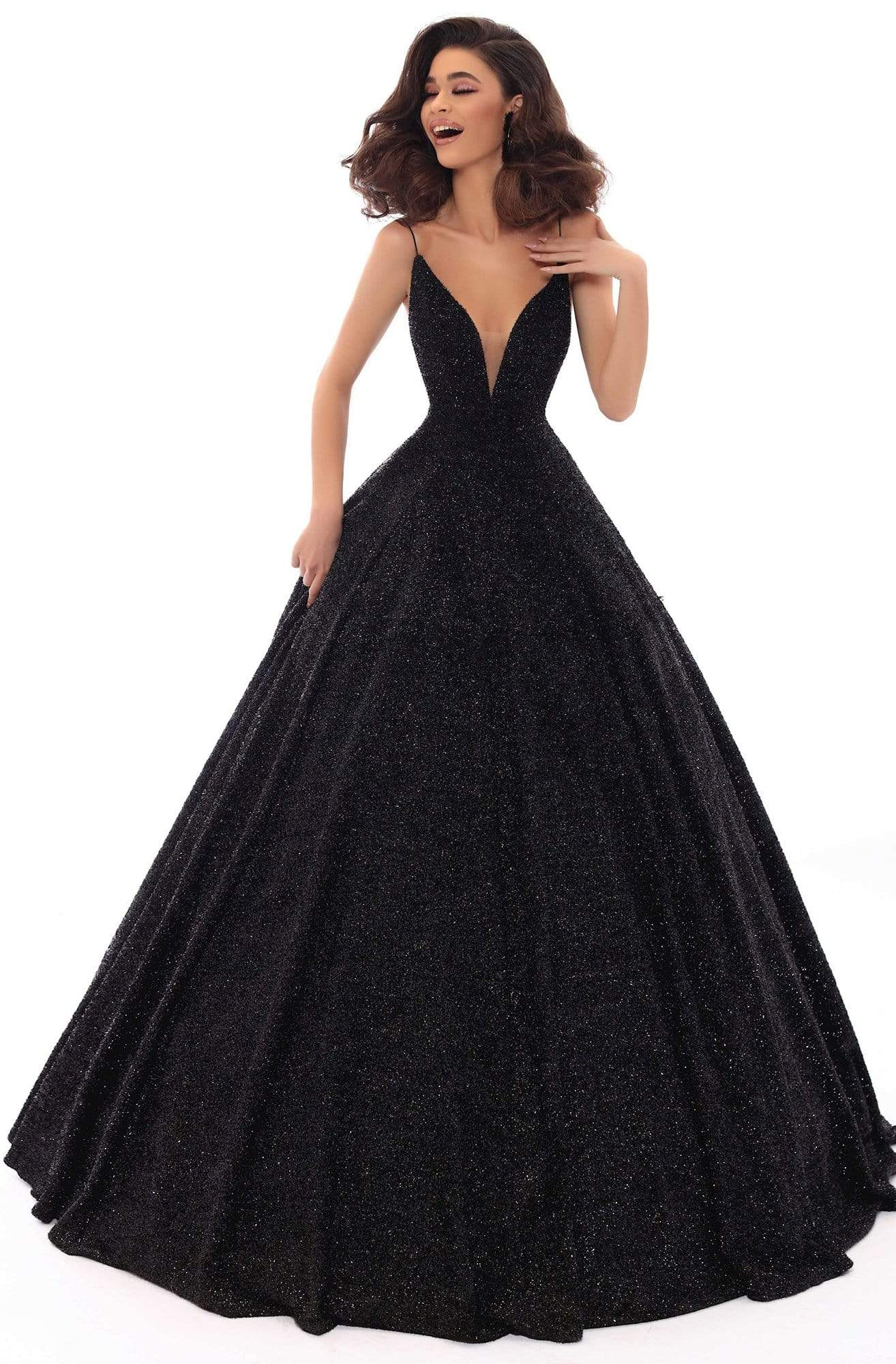 Tarik Ediz - 93690 Illusion Plunging Backless Sparkly Ballgown Special Occasion Dress 2 / Black