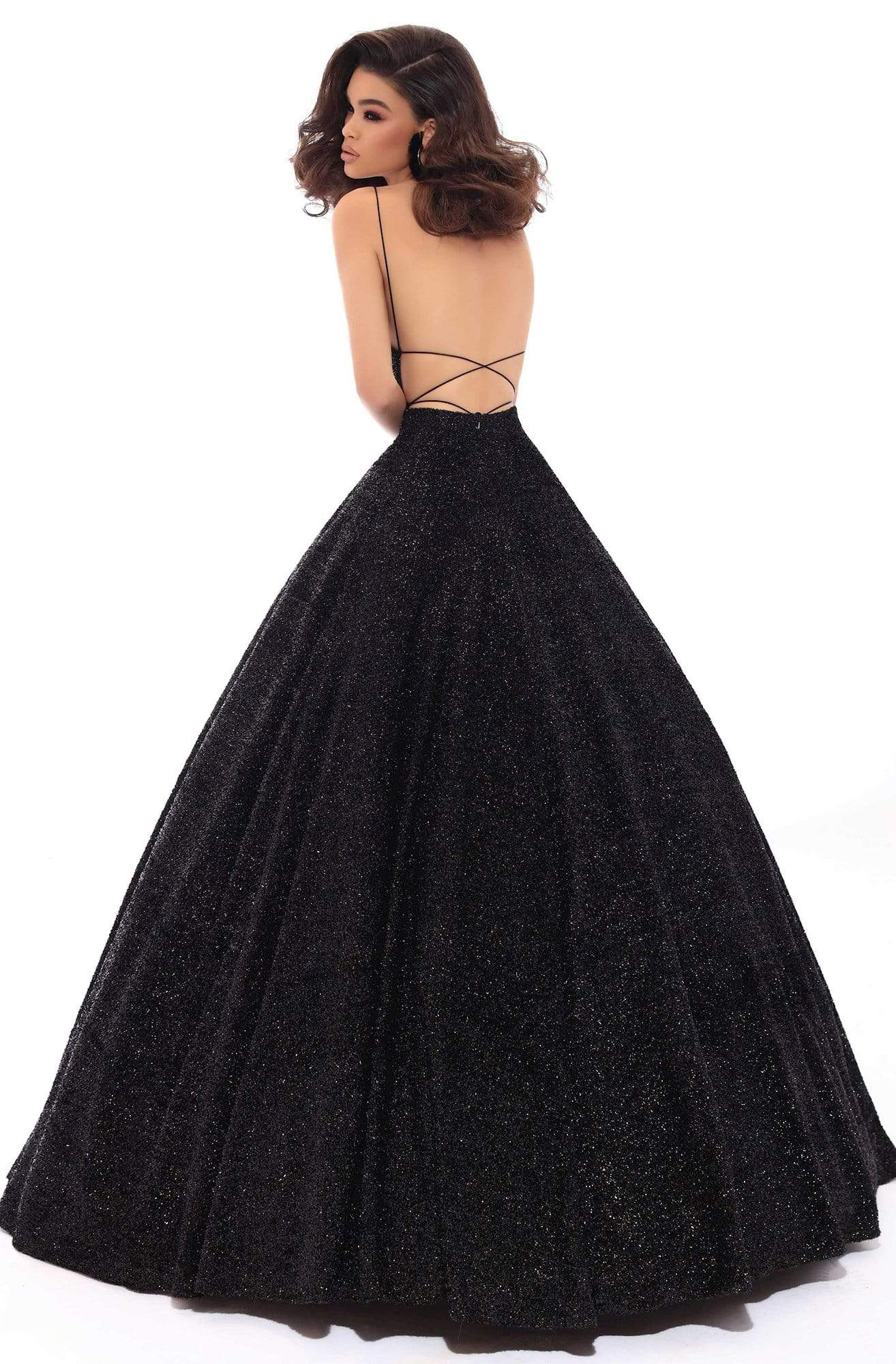 Tarik Ediz - 93690 Illusion Plunging Backless Sparkly Ballgown Special Occasion Dress