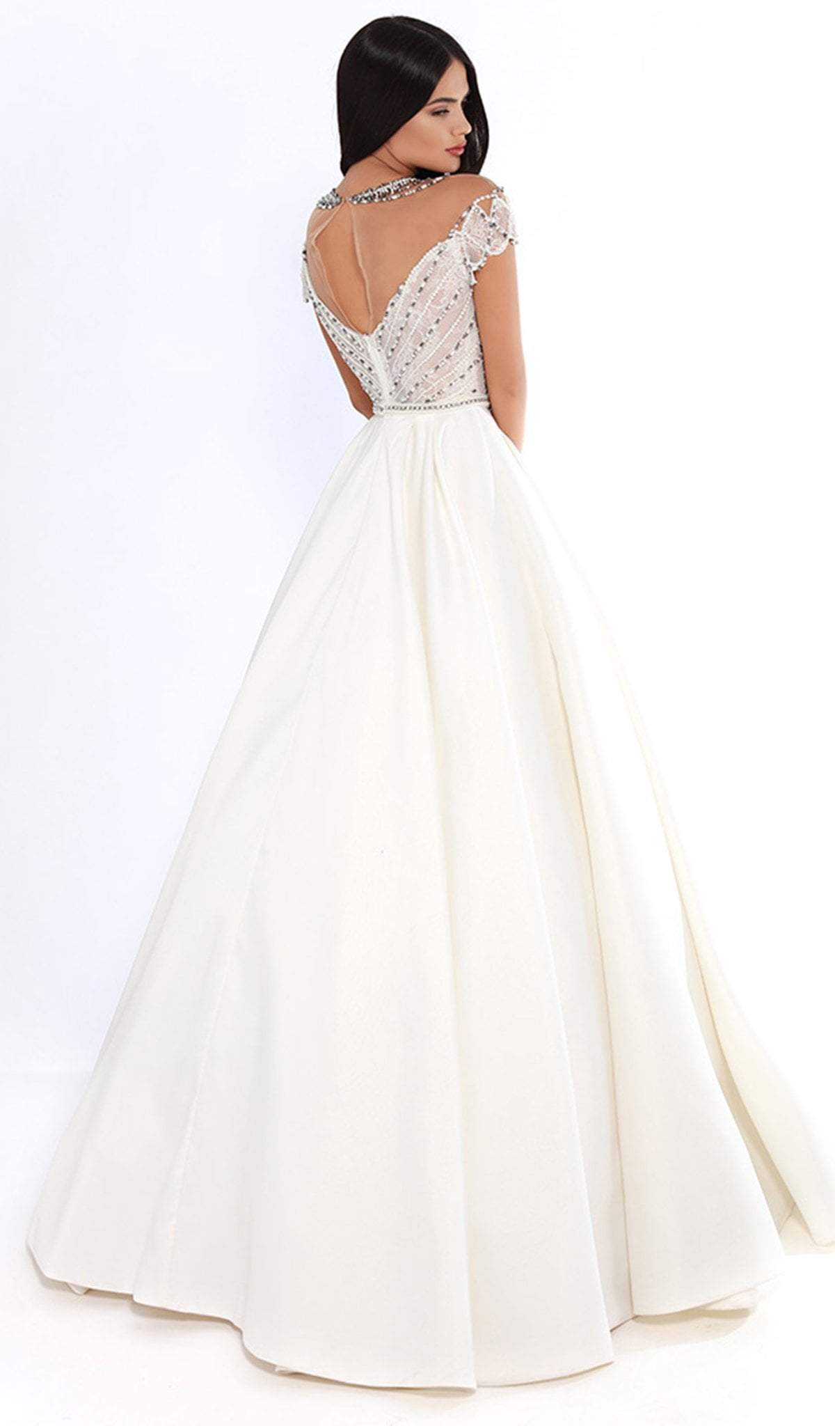 Tarik Ediz - 93737 Embellished High Neck Ballgown In White