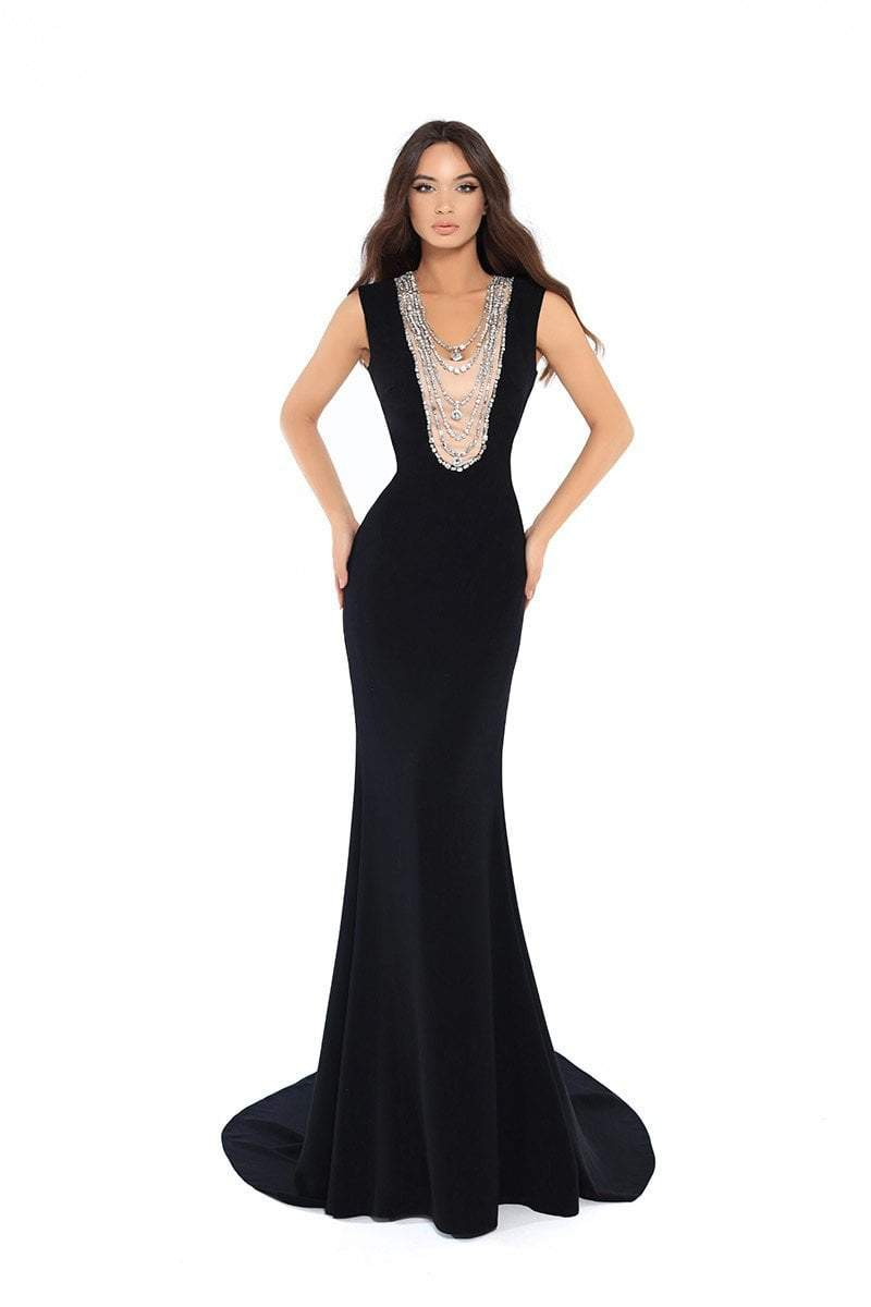 Tarik Ediz - 93744 Bead Embellished Fitted Evening Gown In Black