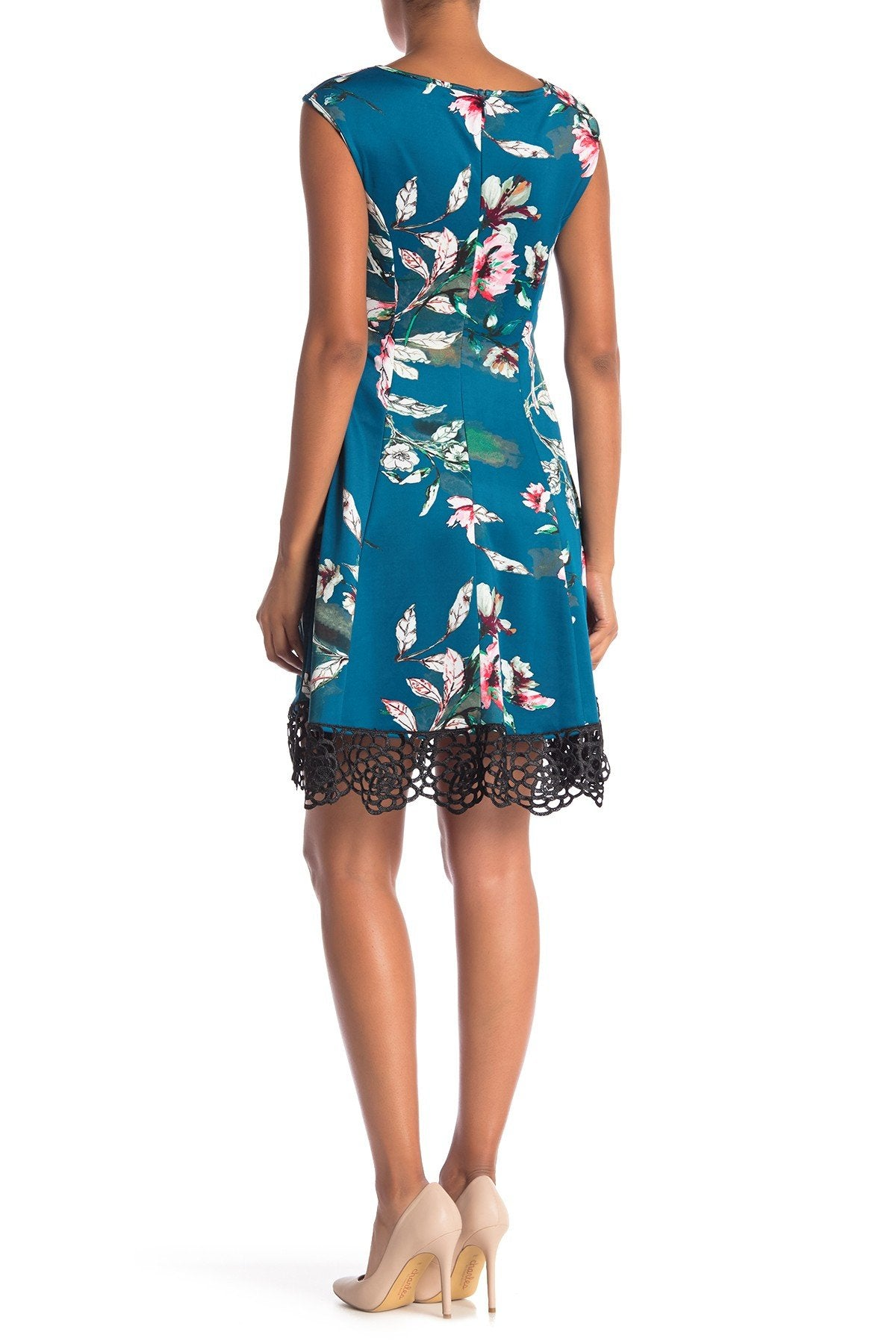 Donna Ricco - DR50916 Floral Printed Bateau Scuba A-line Dress In Green and Multi-Color