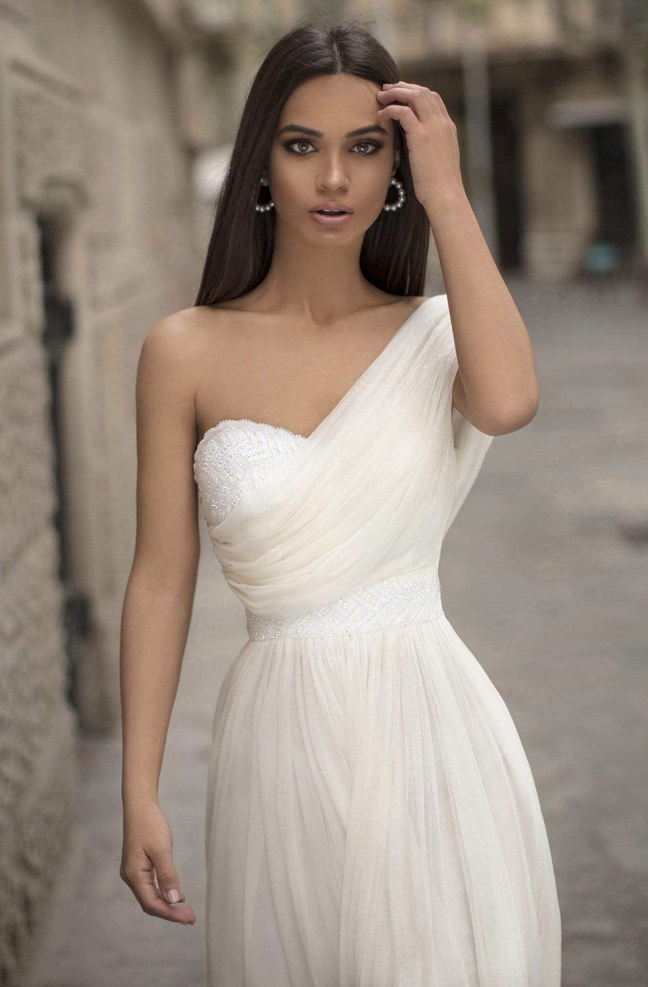 Tarik Ediz - 93814 Ruched Asymmetrical A-Line Dress In White