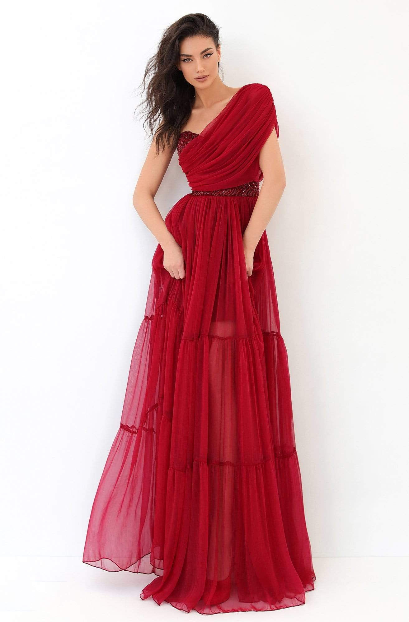 Tarik Ediz - 93814 Ruched Asymmetrical A-Line Dress Prom Dresses 0 / Red