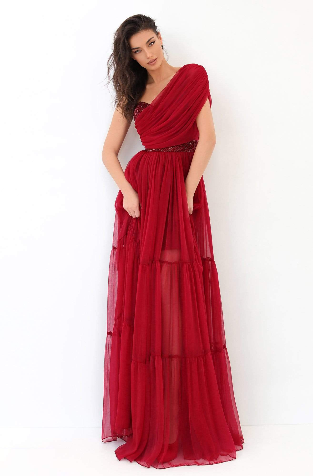 Tarik Ediz - 93814 Ruched Asymmetrical A-Line Dress In Red