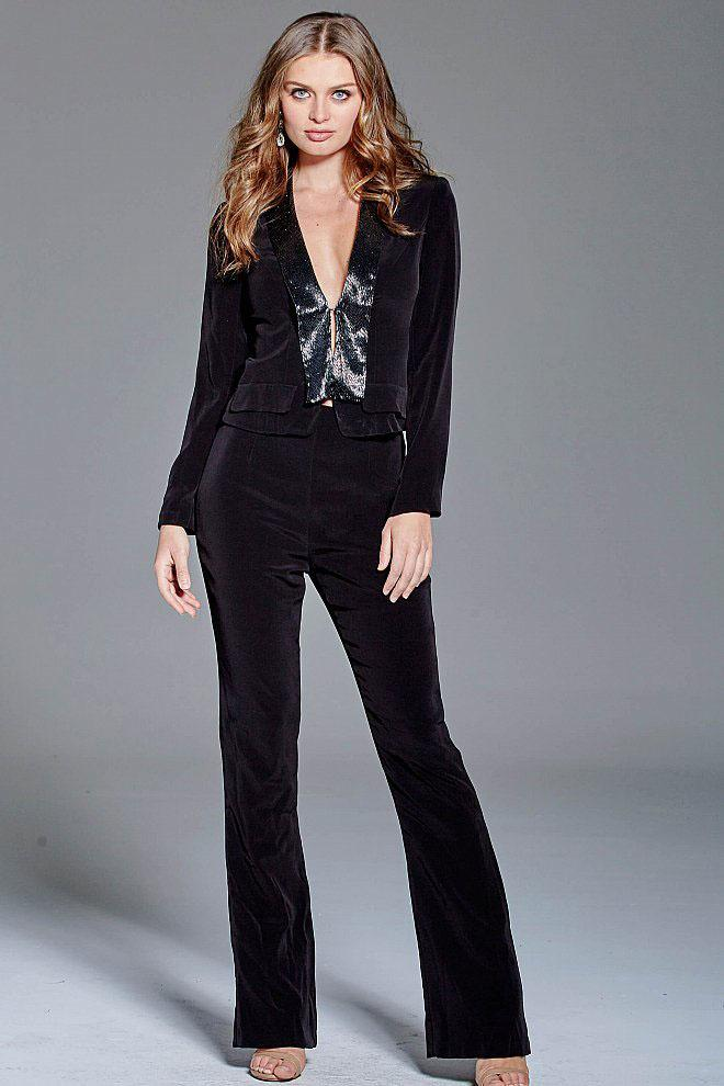 Jovani - 93843 Beaded Deep V-neck Pantsuit in Black