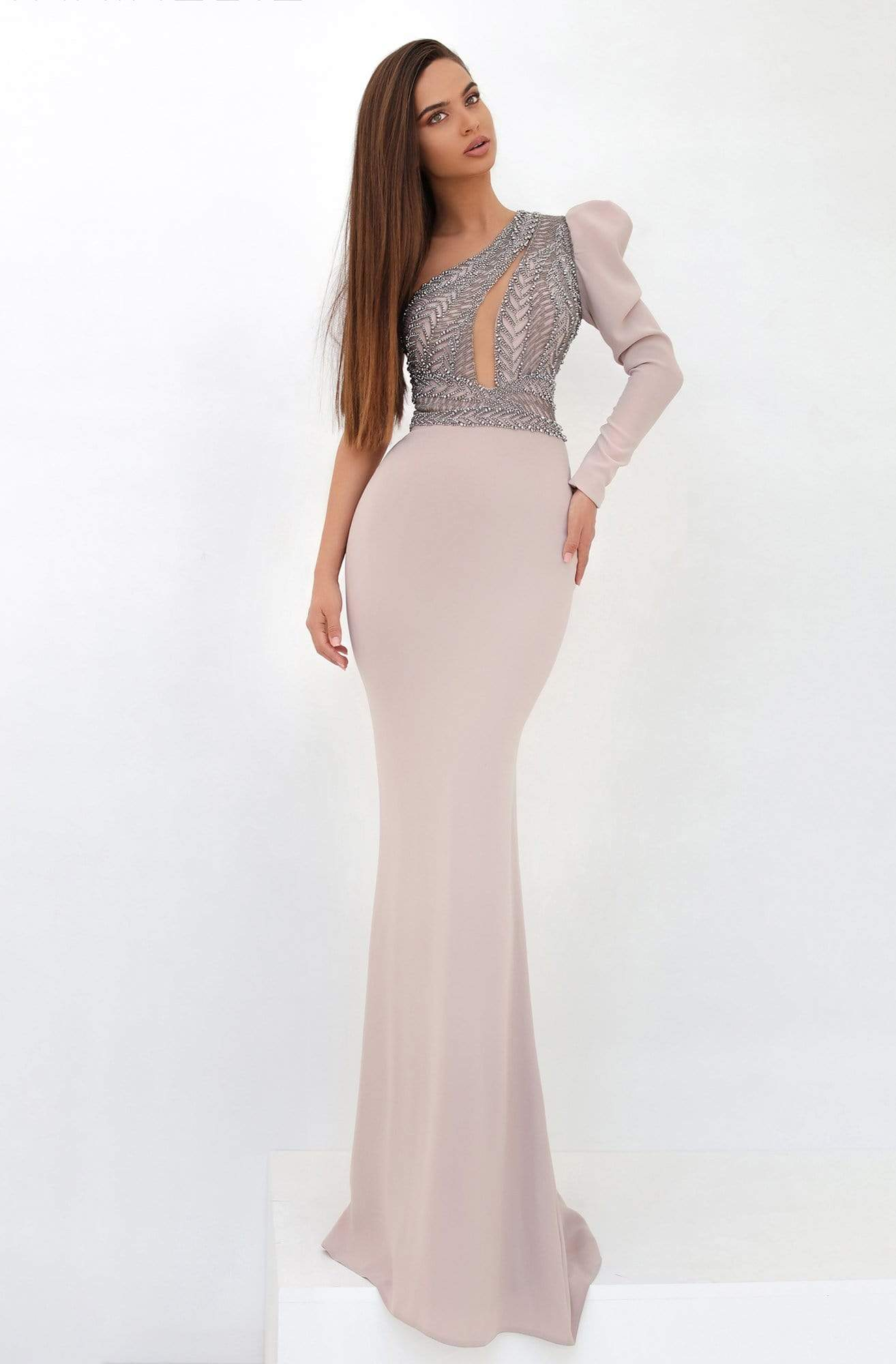 Tarik Ediz - 93858 Beaded Asymmetrical Sheath Dress Evening Dresses