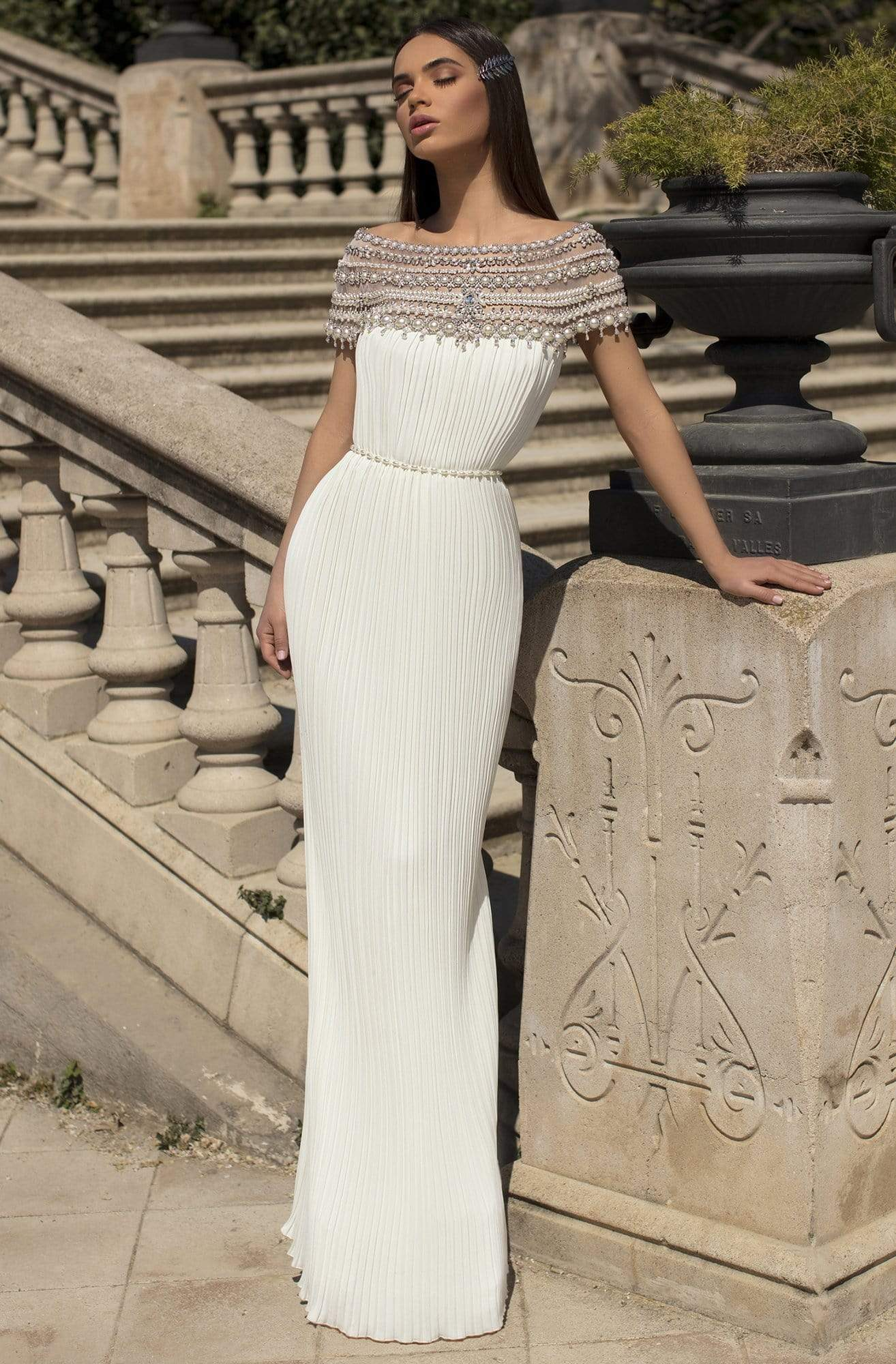 Tarik Ediz - 93863 Long Pearl-Ornate Off Shoulder Pleated Gown Evening Dresses 0 / Ivory