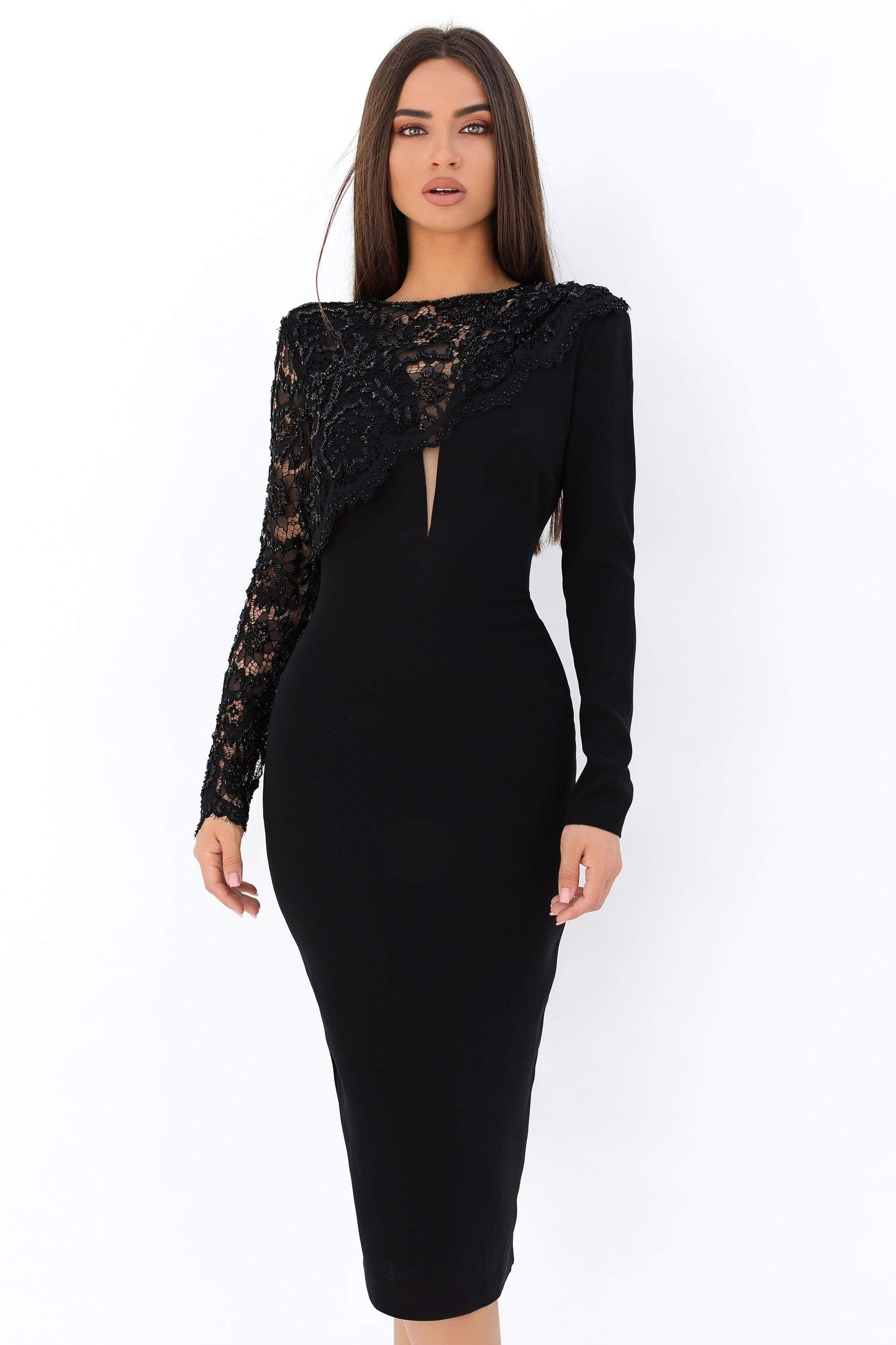 Tarik Ediz - 93870 Beaded Lace Long Sleeve Fitted Dress Party Dresses 0 / Black