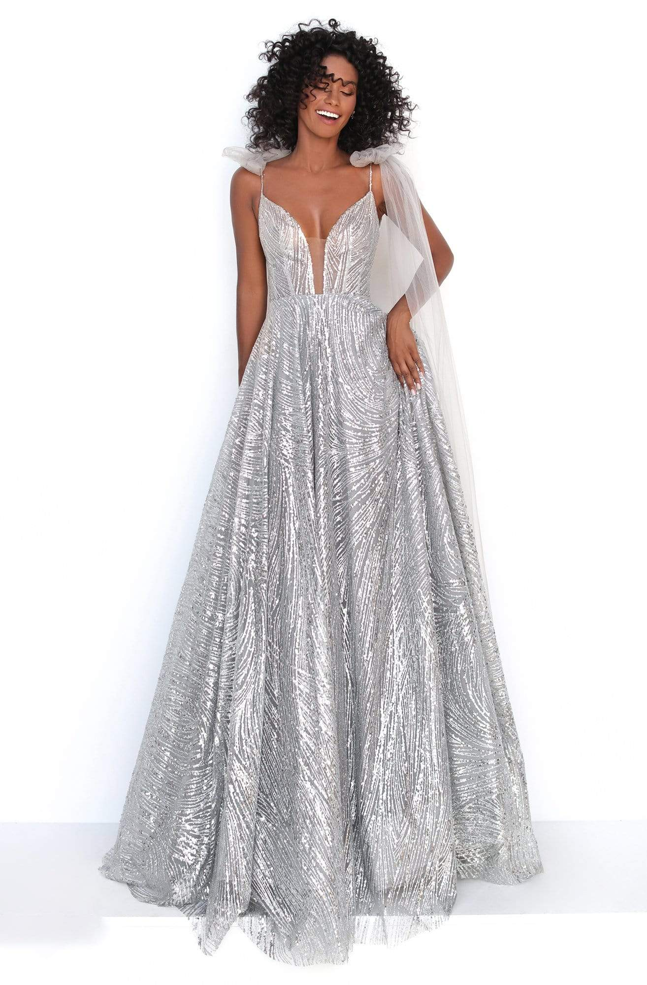 Tarik Ediz - 93918 Sequin Embellished Plunging V-Neck Ballgown In Gray