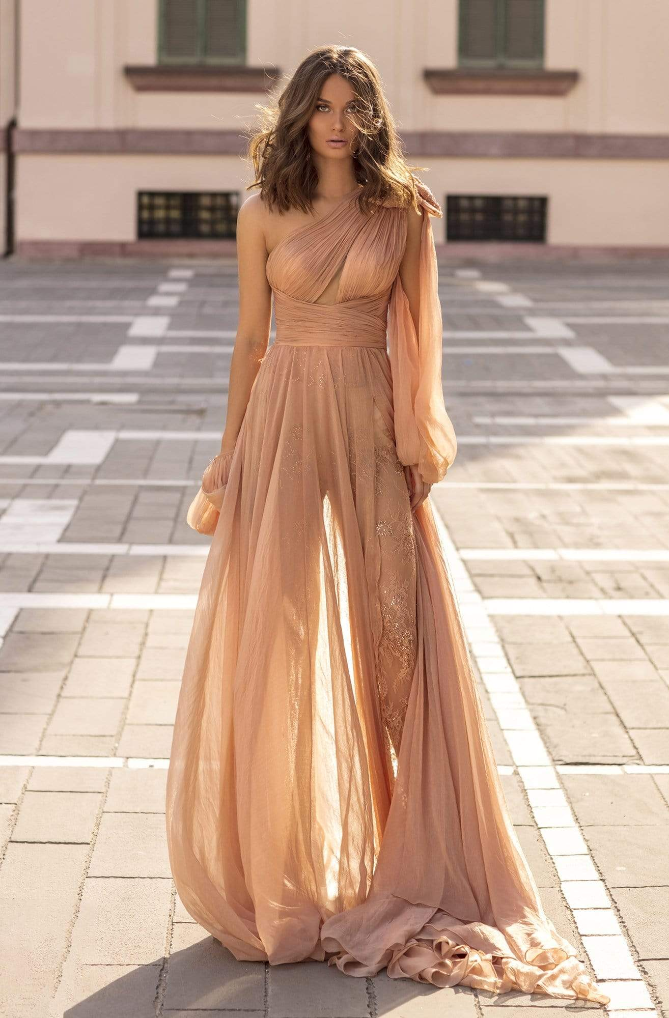 Tarik Ediz - 93924 Ruched Asymmetrical Jumpsuit with Overskirt Evening Dresses 0 / Nude