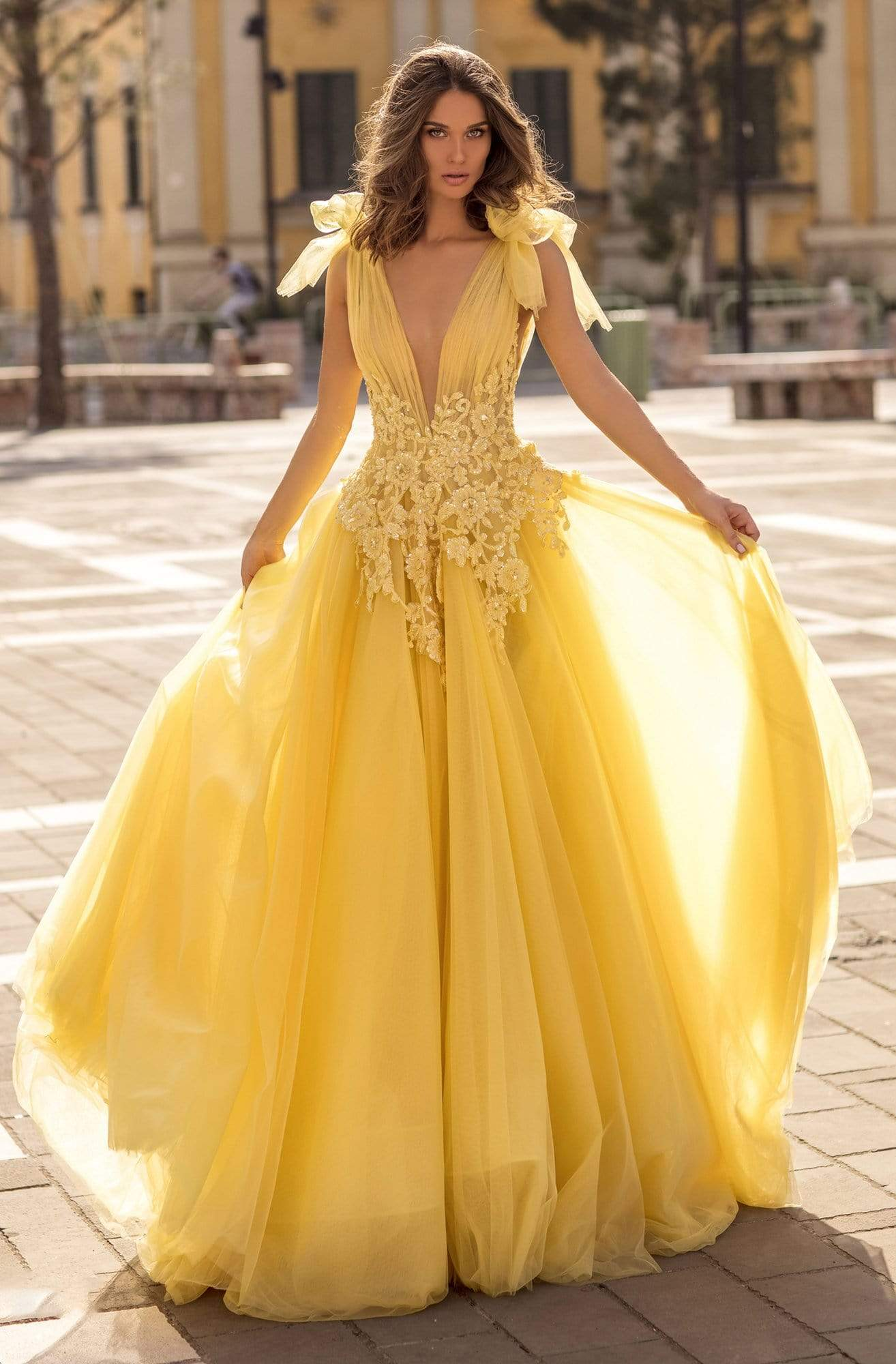 Tarik Ediz - 93927 Beaded Lace Plunging V-Neck Ballgown Ball Gowns 0 / Yellow
