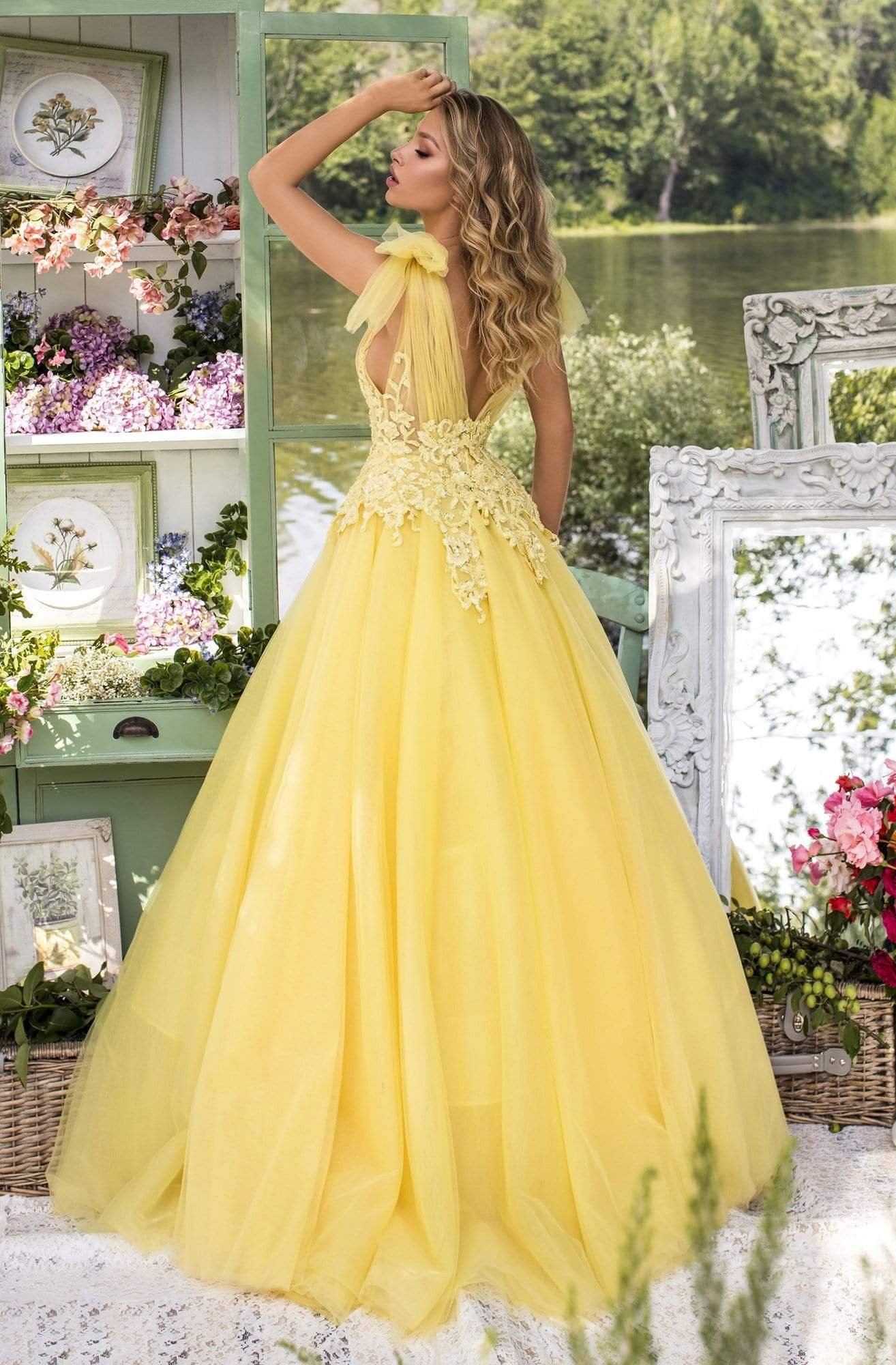Tarik Ediz - 93927 Beaded Lace Plunging V-Neck Ballgown Ball Gowns