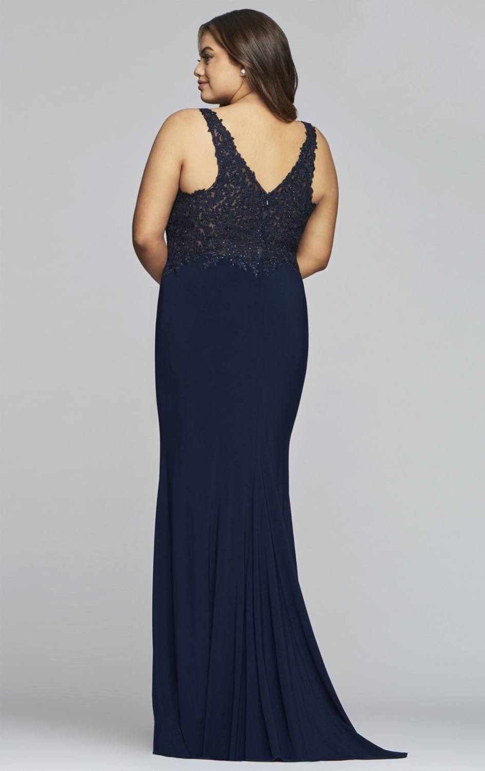 Faviana - Lace Applique V-Neck Jersey Sheath Dress 9463 in Blue