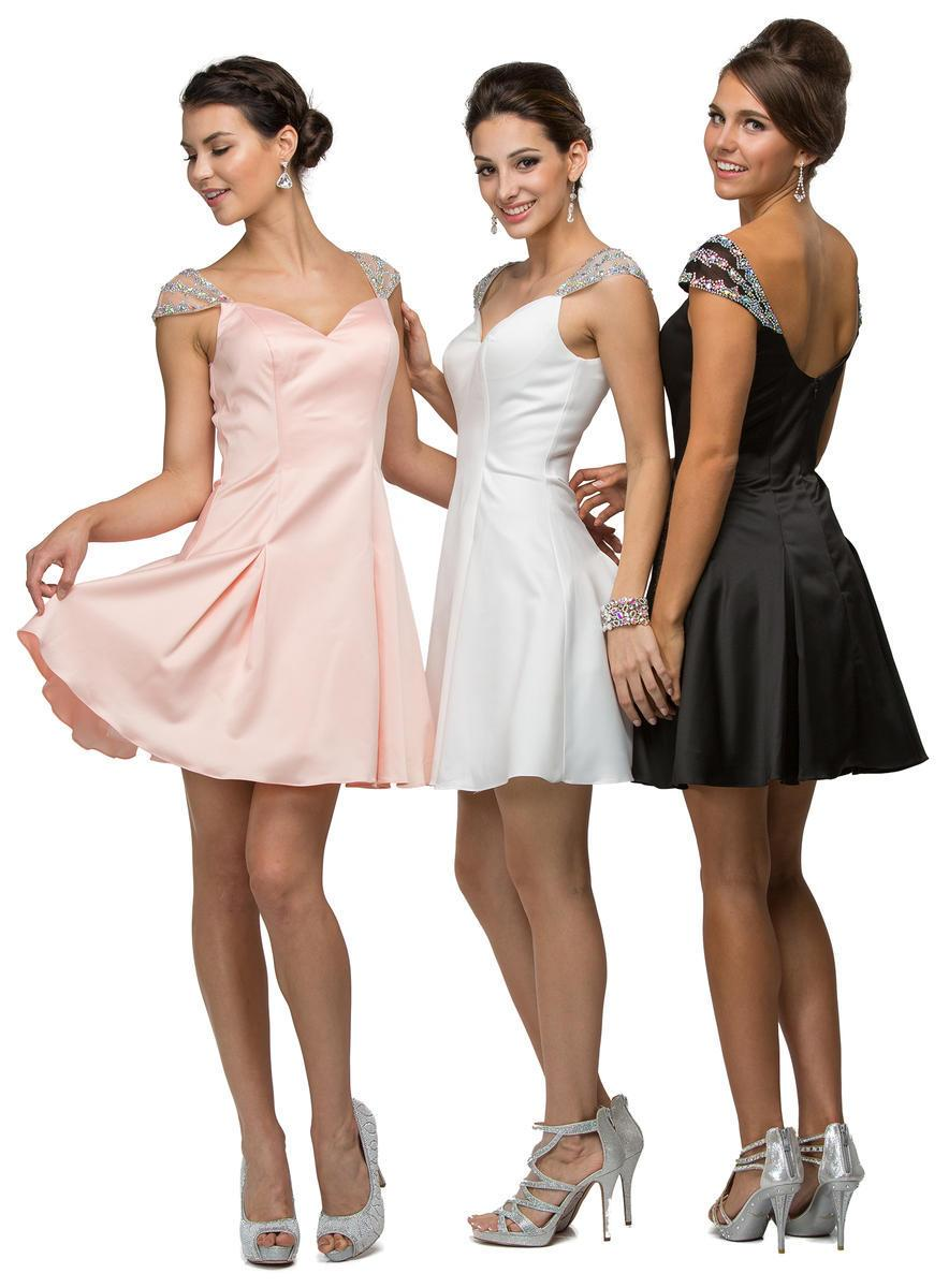 Dancing Queen - 9476SC Beaded Strap Sweetheart Neck Satin Short Dress