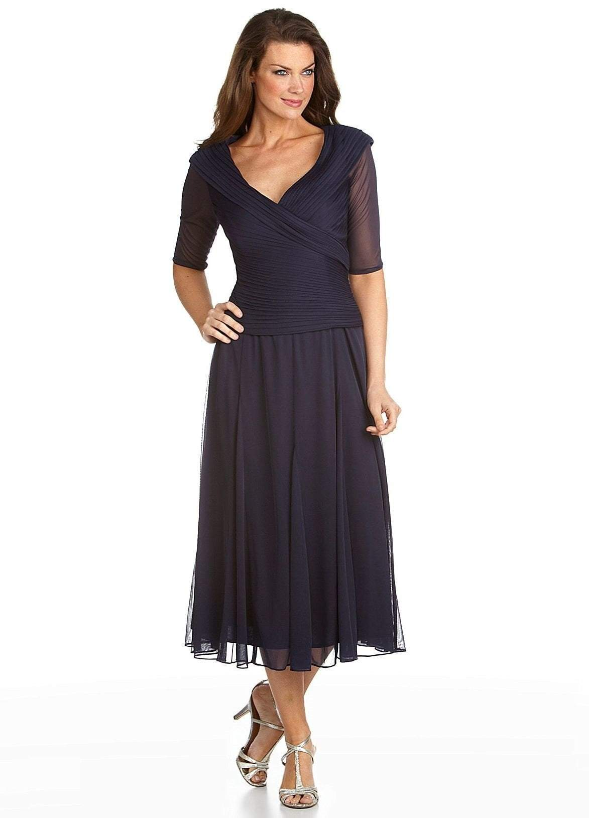 Alex Evenings - 132141SC Wide V Neck Blouson Tea Length Dress