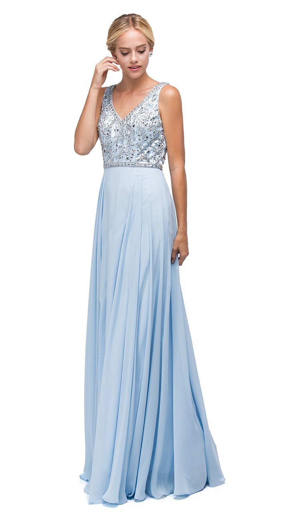 Dancing Queen - 9589SC Jeweled Bodice Chiffon Long Dress