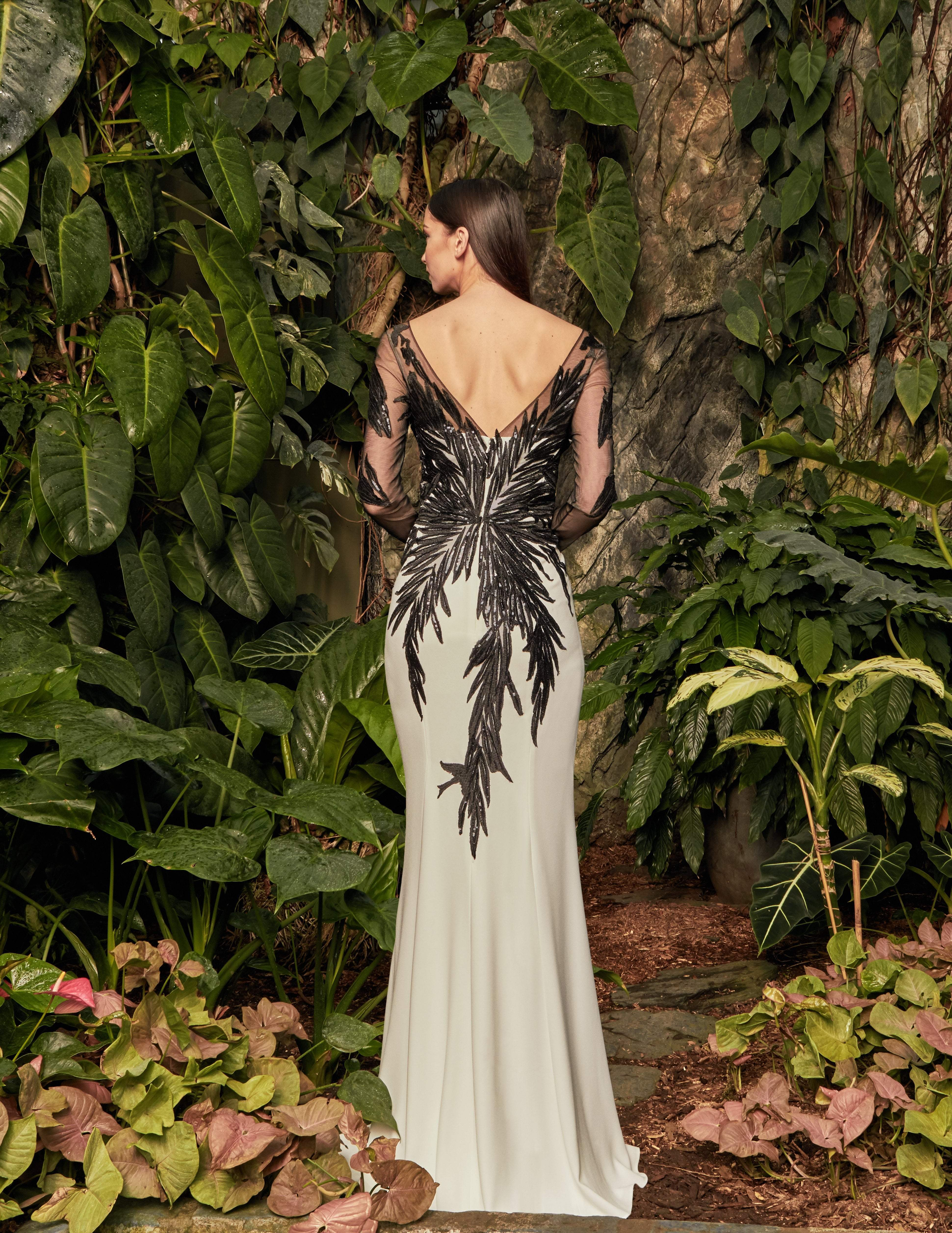 Alexander by Daymor - 960 Illusion Sleeves Sequin Lace Applique Sheath Gown In White and Black