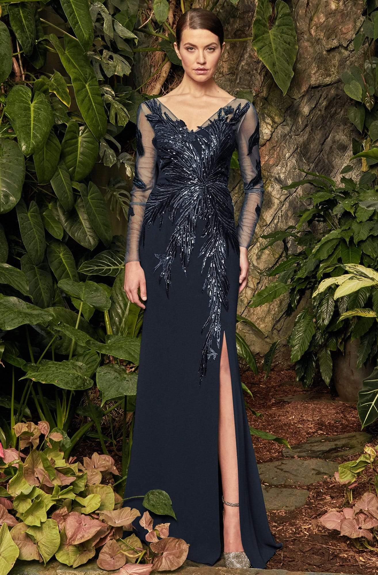 Alexander by Daymor - 960 Illusion Sleeves Sequin Lace Applique Sheath Gown Mother of the Bride Dresses 2 / Midnite
