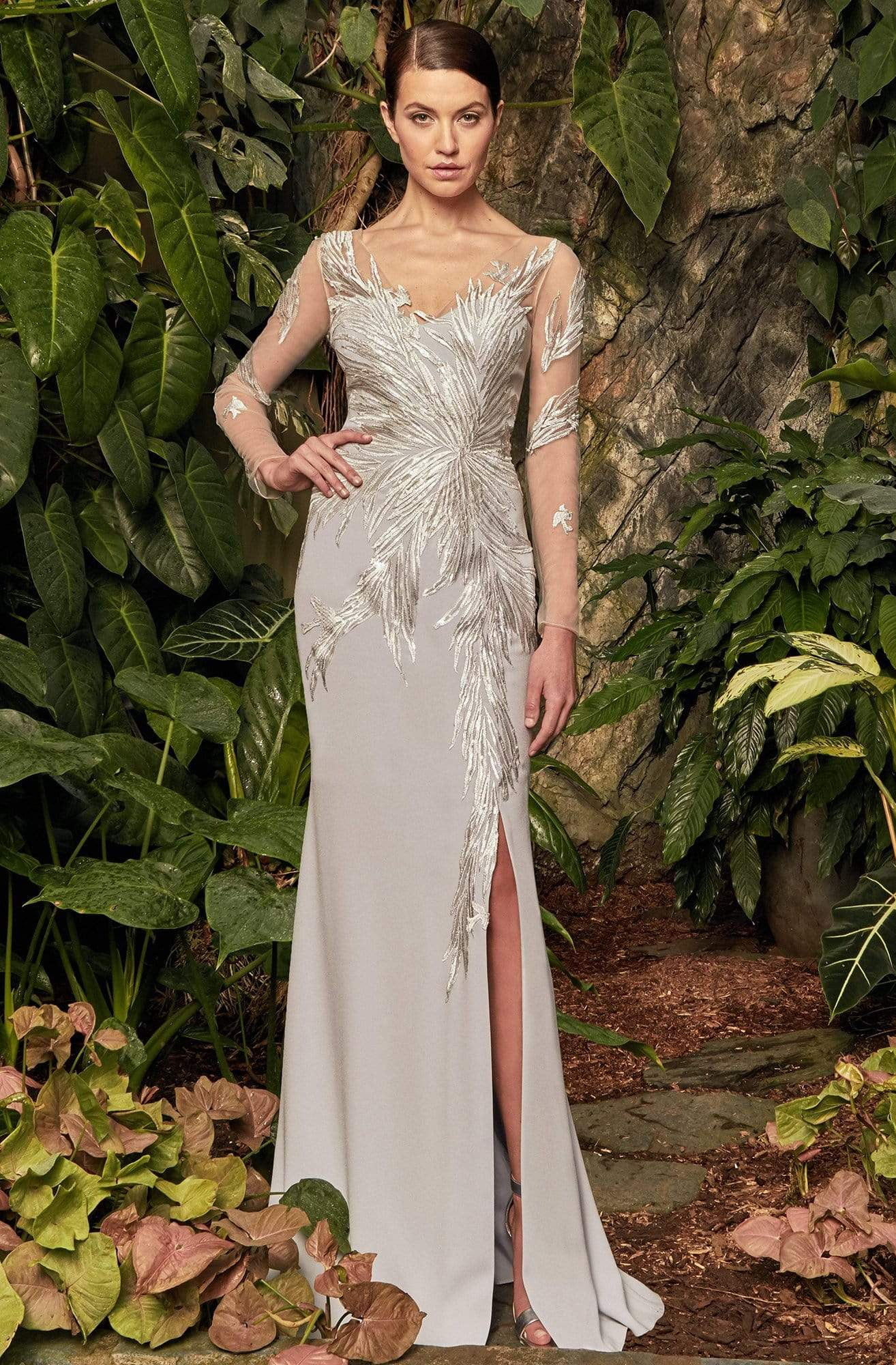 Alexander by Daymor - 960 Illusion Sleeves Sequin Lace Applique Sheath Gown Mother of the Bride Dresses 2 / Pearl Grey