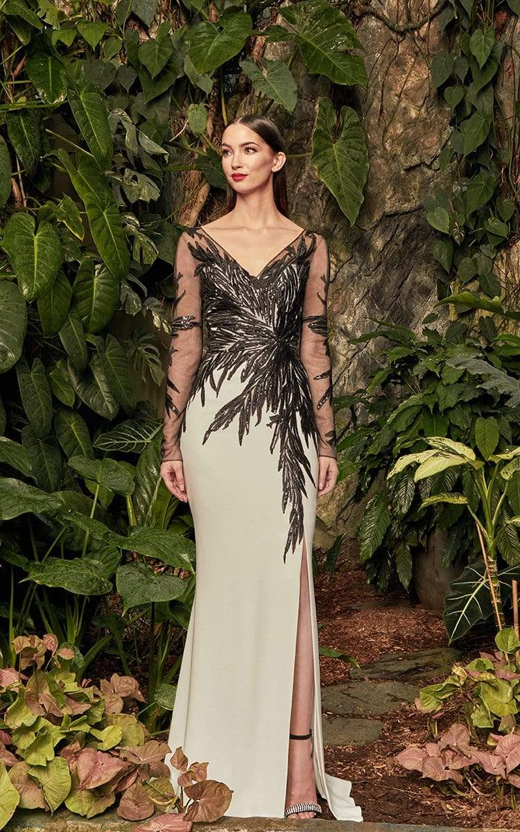 Alexander by Daymor - 960 Illusion Sleeves Sequin Lace Applique Sheath Gown Mother of the Bride Dresses 2 / Soft White/Black