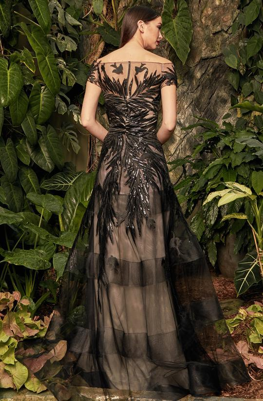Alexander by Daymor - 961 Cap Sleeve Sequin-Ornate Embroidered Gown In Black