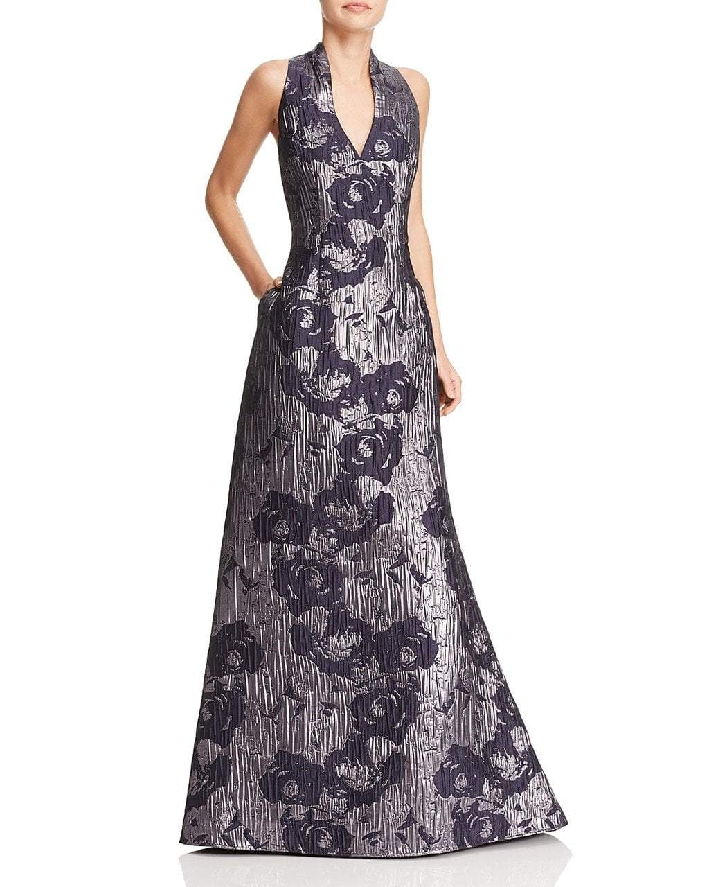 Aidan Mattox - MD1E200784 Sleeveless Metallic Floral Print Gown in Black and Silver