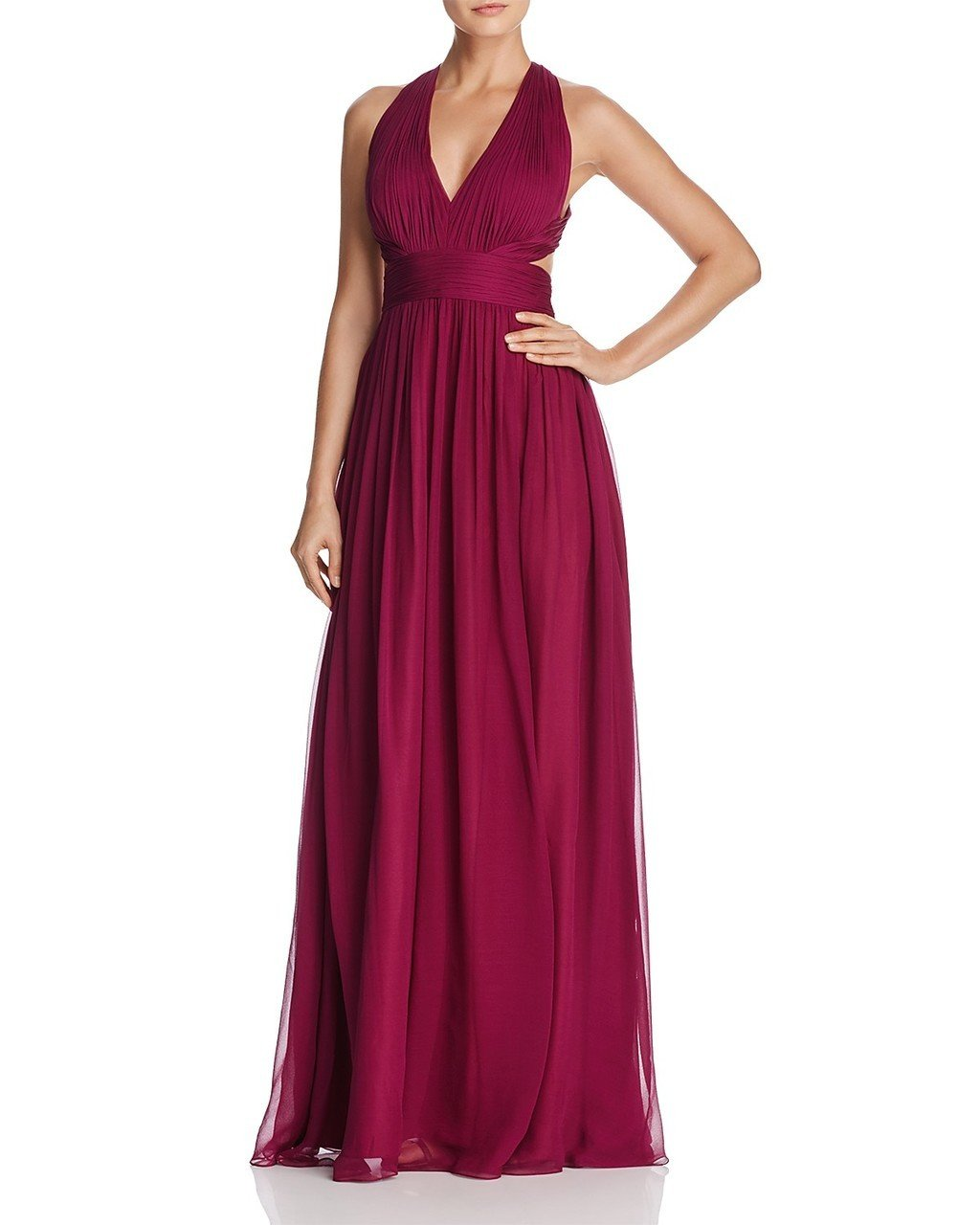 Aidan Mattox - 54456770 Plunging Cutout A-Line Flowing Silk Dress in Red