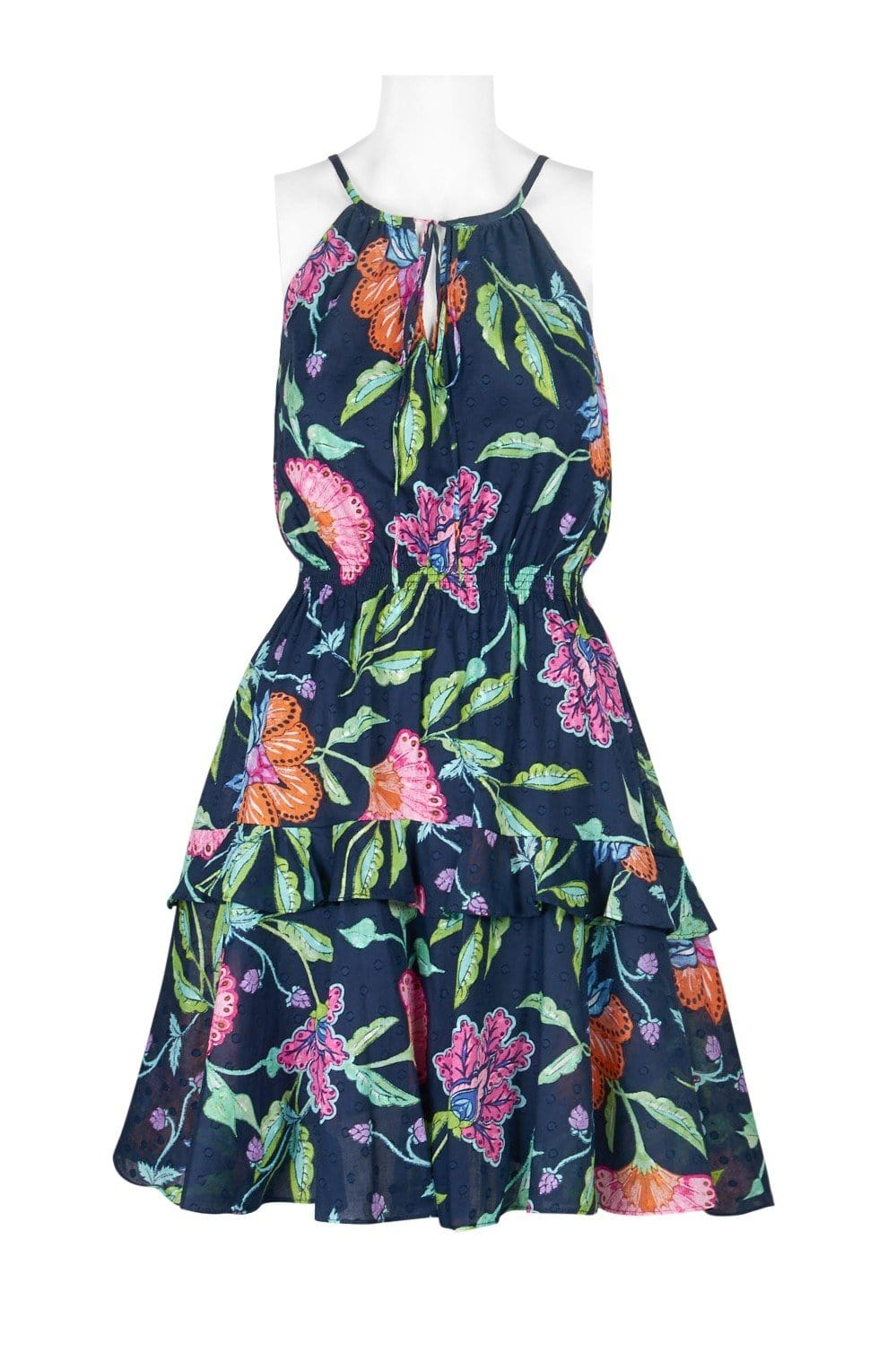Taylor - 9682M Floral Print Tie Keyhole Front Dress In Blue and Floral