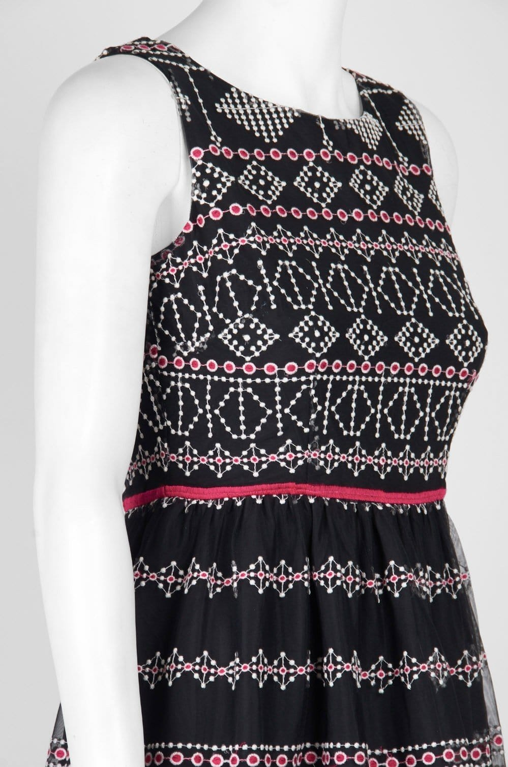 Taylor - 9722M Sleeveless Piped Multi-Print A-Line Dress In Black