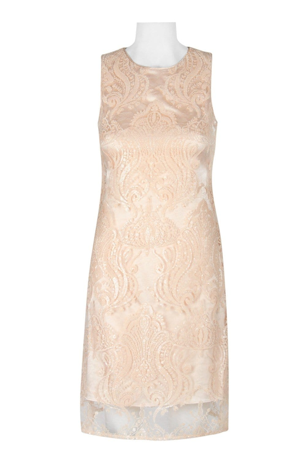 Taylor - 9734M Sequined Mesh Short Sheath Dress In Nude