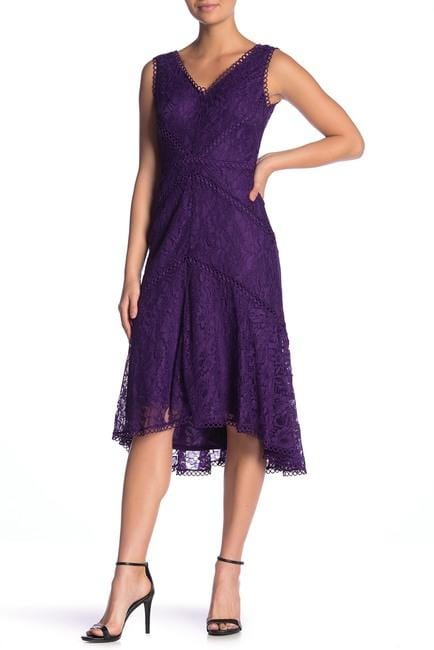 Taylor - 1144M Sleeveless Loops Trimmed V Neck Hi-Lo Hem Lace Dress In Purple