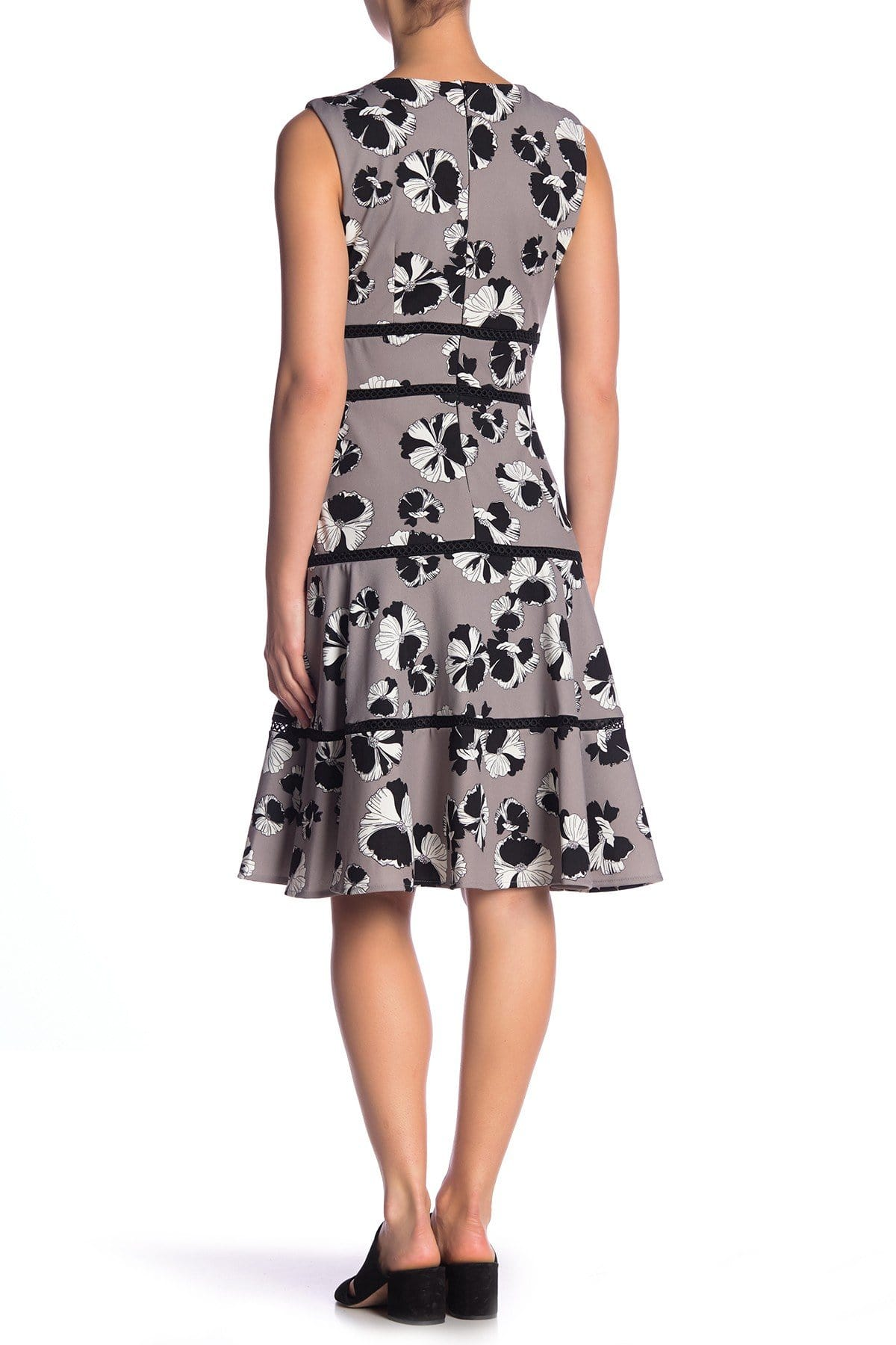Taylor - 1169M Floral Print V Neck Sleeveless Crepe Dress In Black and Gray