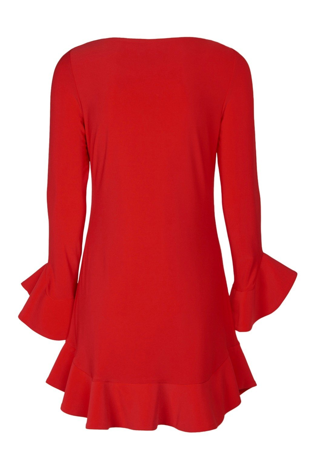 Laundry - 97F34310 Flounce Cuff Long Sleeves Solid Jersey Shift Dress In Red