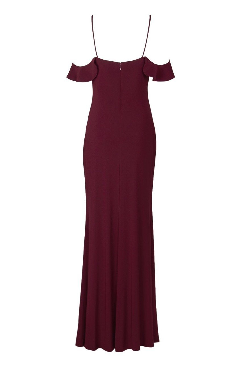 Laundry - 97H15410 Cowl Neck Off Shoulder Long Sheath Gown in Red