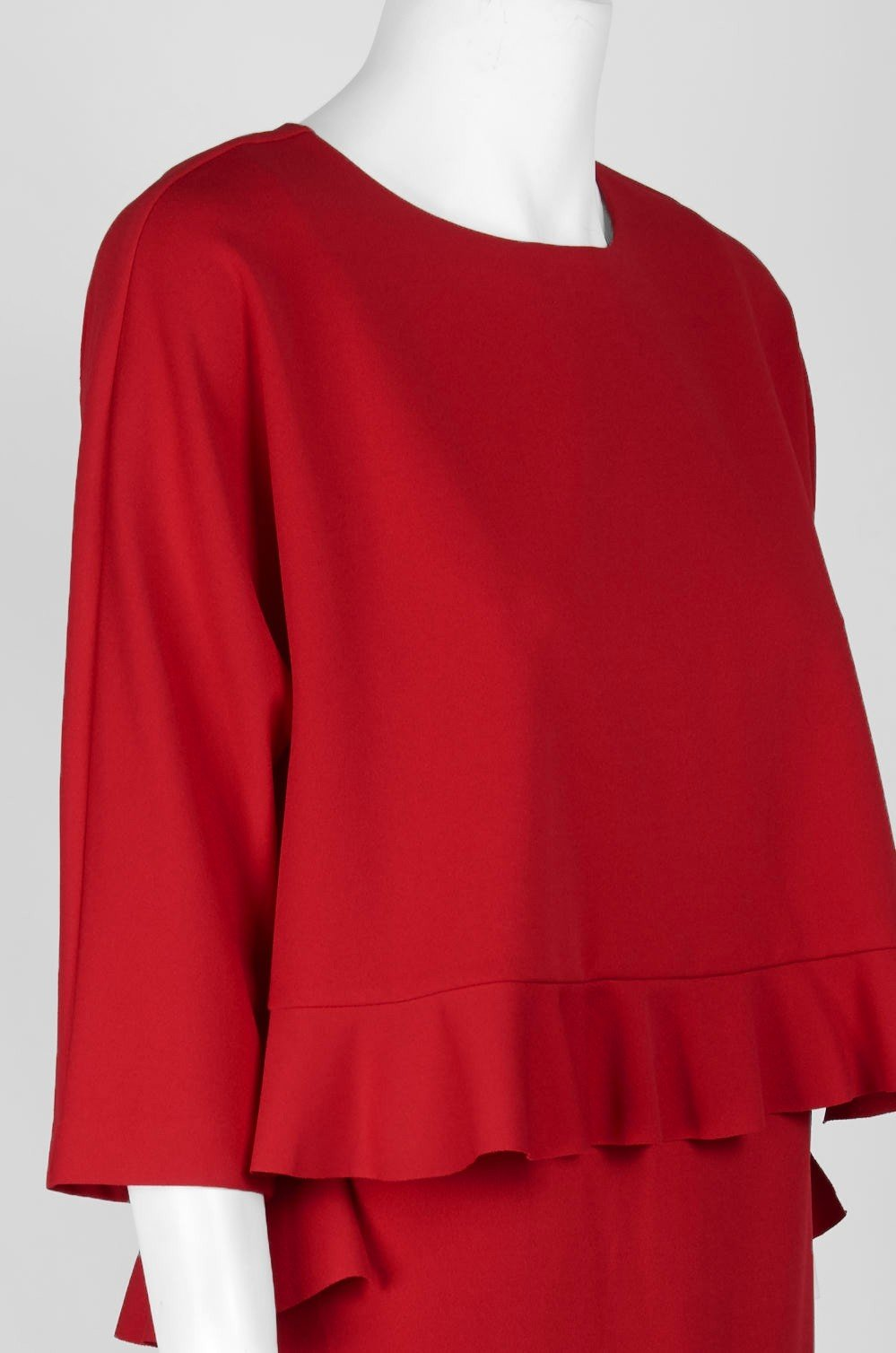 Taylor - 9859M Quarter Sleeve Ruffle-Trimmed Popover Dress In Red