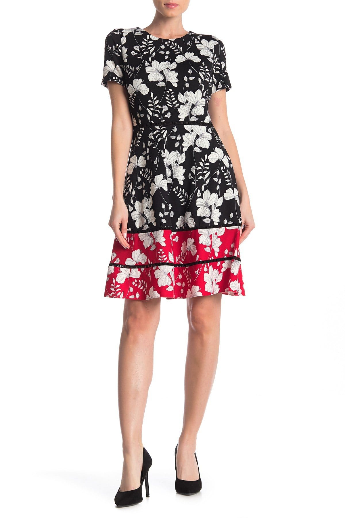 Taylor - 1204M Short Sleeves Floral Print Stretch Crepe Dress In Black and Multi-Color