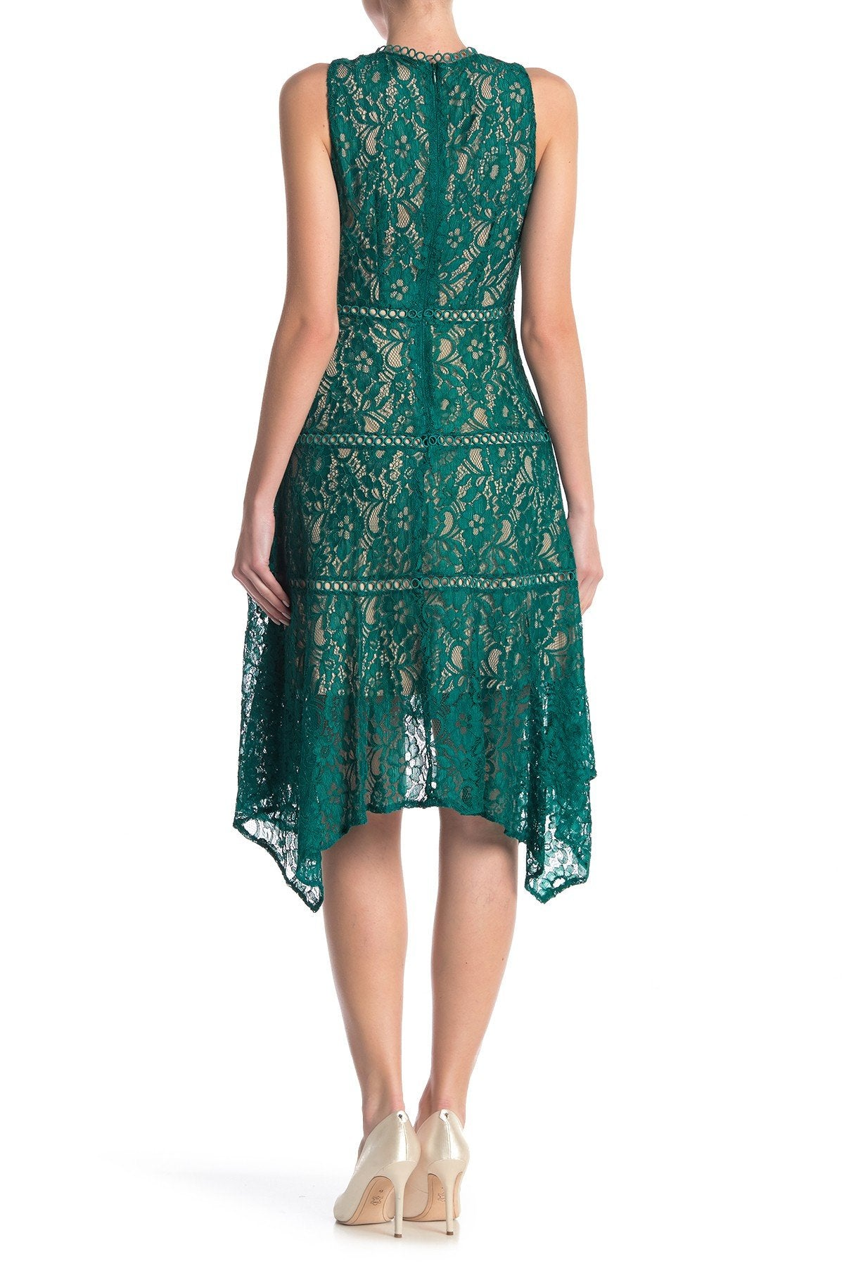 Taylor - 1219M Sleeveless Floral Lace Handkerchief Hem Dress In Green