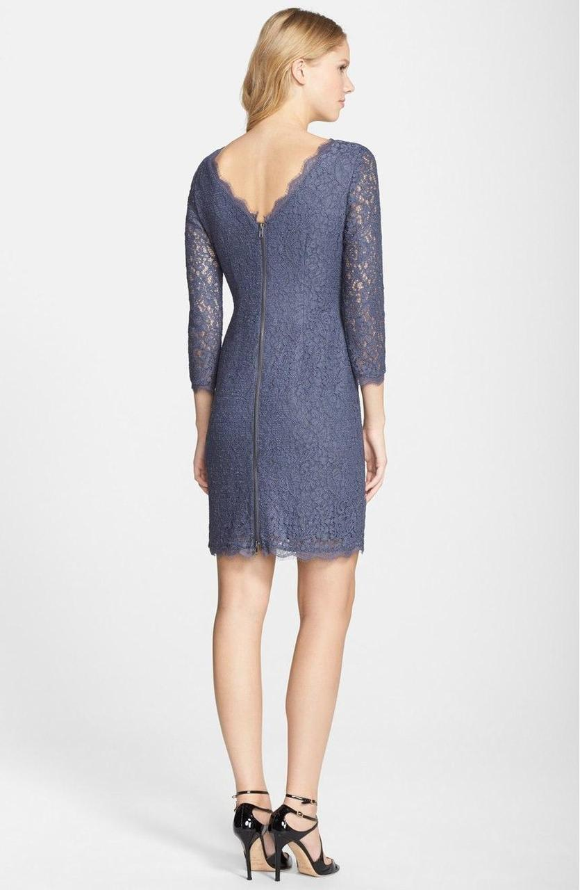 Adrianna Papell - Quarter Length Sleeve Lace Dress 41864780 in Gray