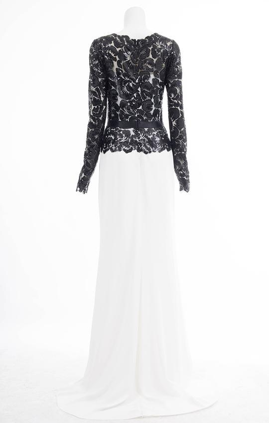 Tadashi Shoji - Long Illusion Floral Lace Sheath Gown In Black and White