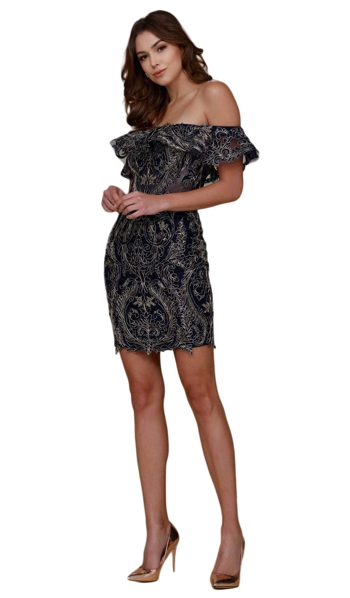 Nox Anabel - A611SC Ruffled Off-Shoulder Embroidered Fitted Dress