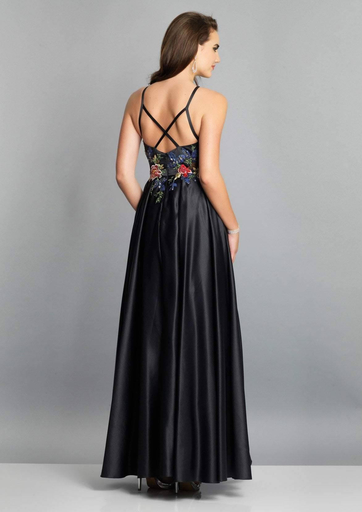 Dave & Johnny - Floral Embroidered Jewel Bodice A-Line Gown A7616  In Black