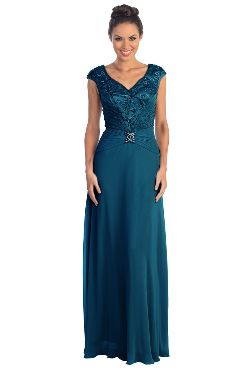 Elizabeth K - Embroidered V Neck Bodice Chiffon Long Dress GL1048SC